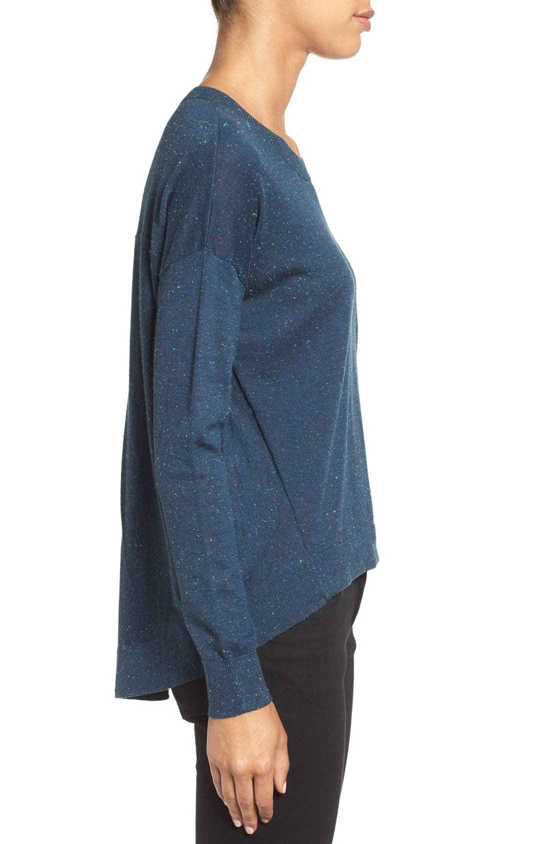 Pleat Back High/Low Crewneck Sweater,                             Alternate thumbnail 25, color,