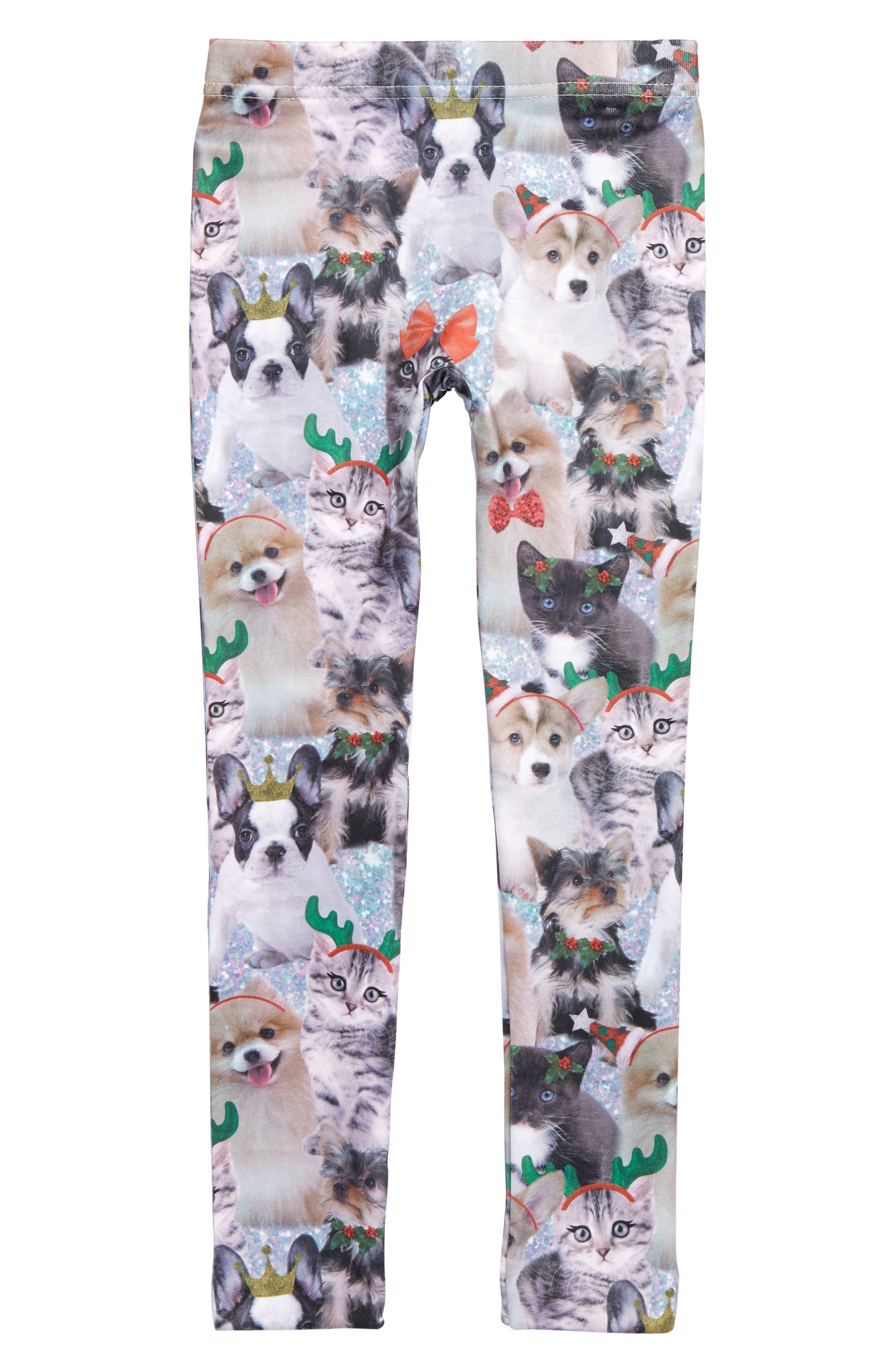 Critter Fleece Leggings,                         Main,                         color, MULTI COMBO