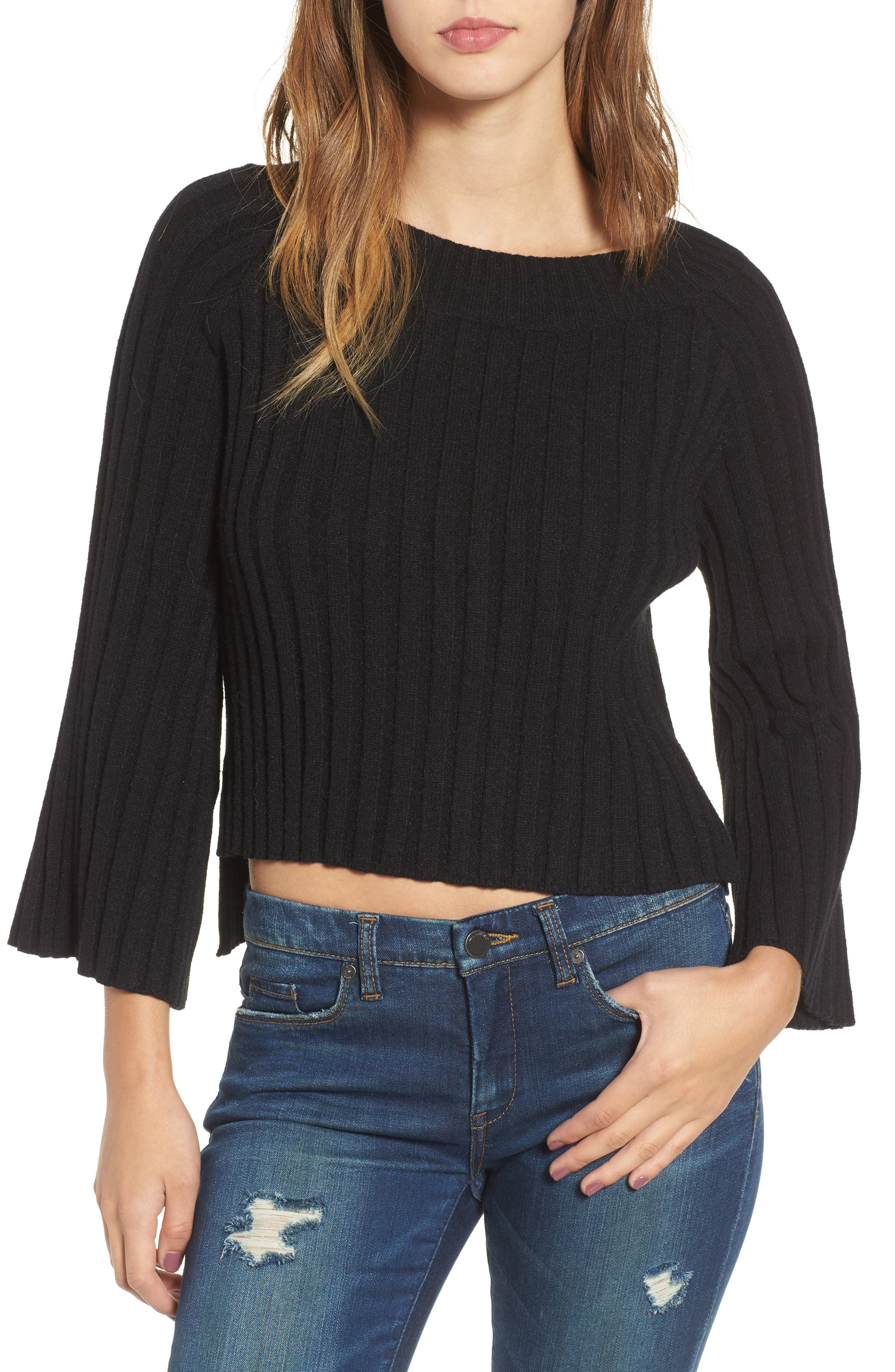 Crop Ribbed Sweater,                         Main,                         color, 001