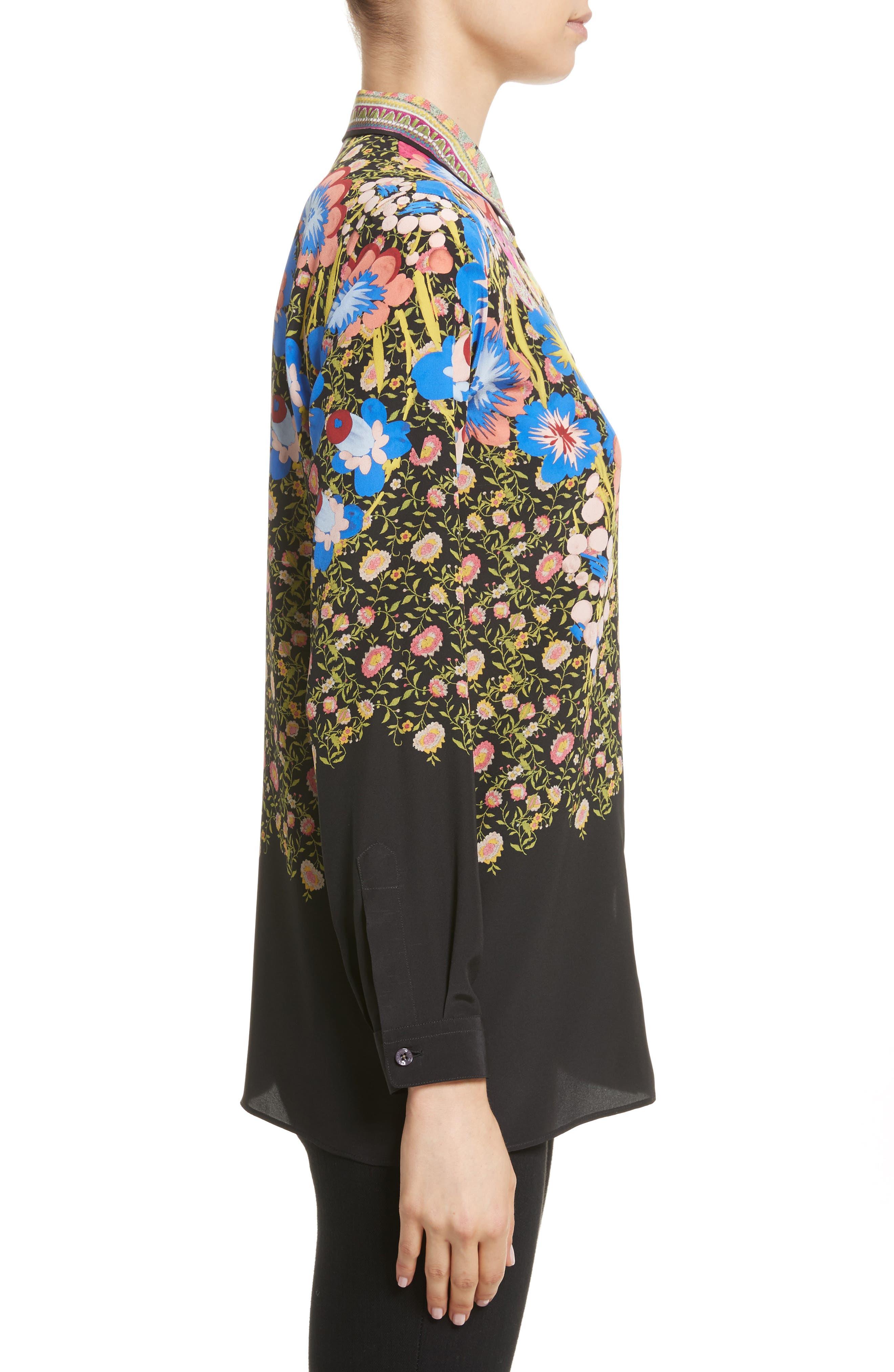 Floral Paisley Print Silk Shirt,                             Alternate thumbnail 3, color,                             001