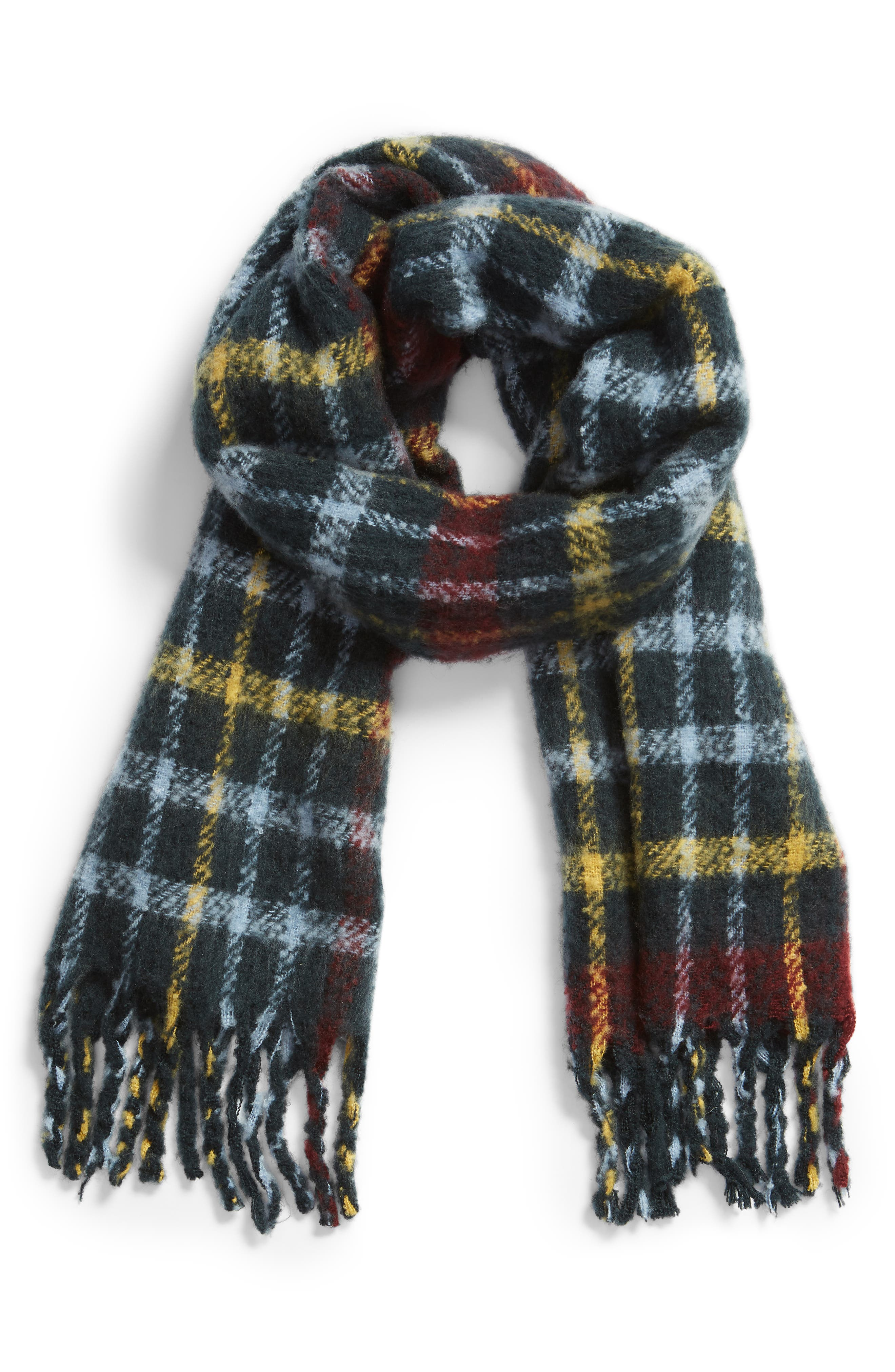 SOMETHING NAVY,                             Check Blanket Scarf,                             Alternate thumbnail 2, color,                             410