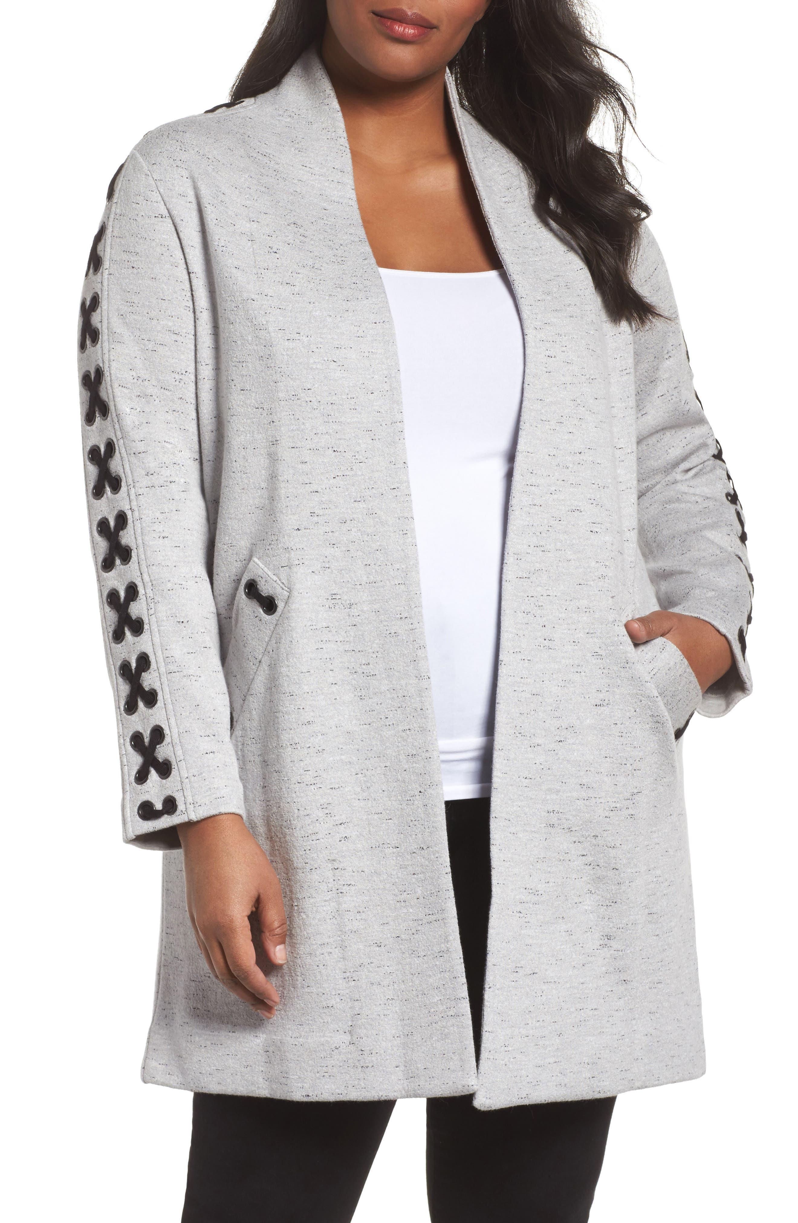 Crisscross Detail Knit Jacket,                         Main,                         color, GRANITE