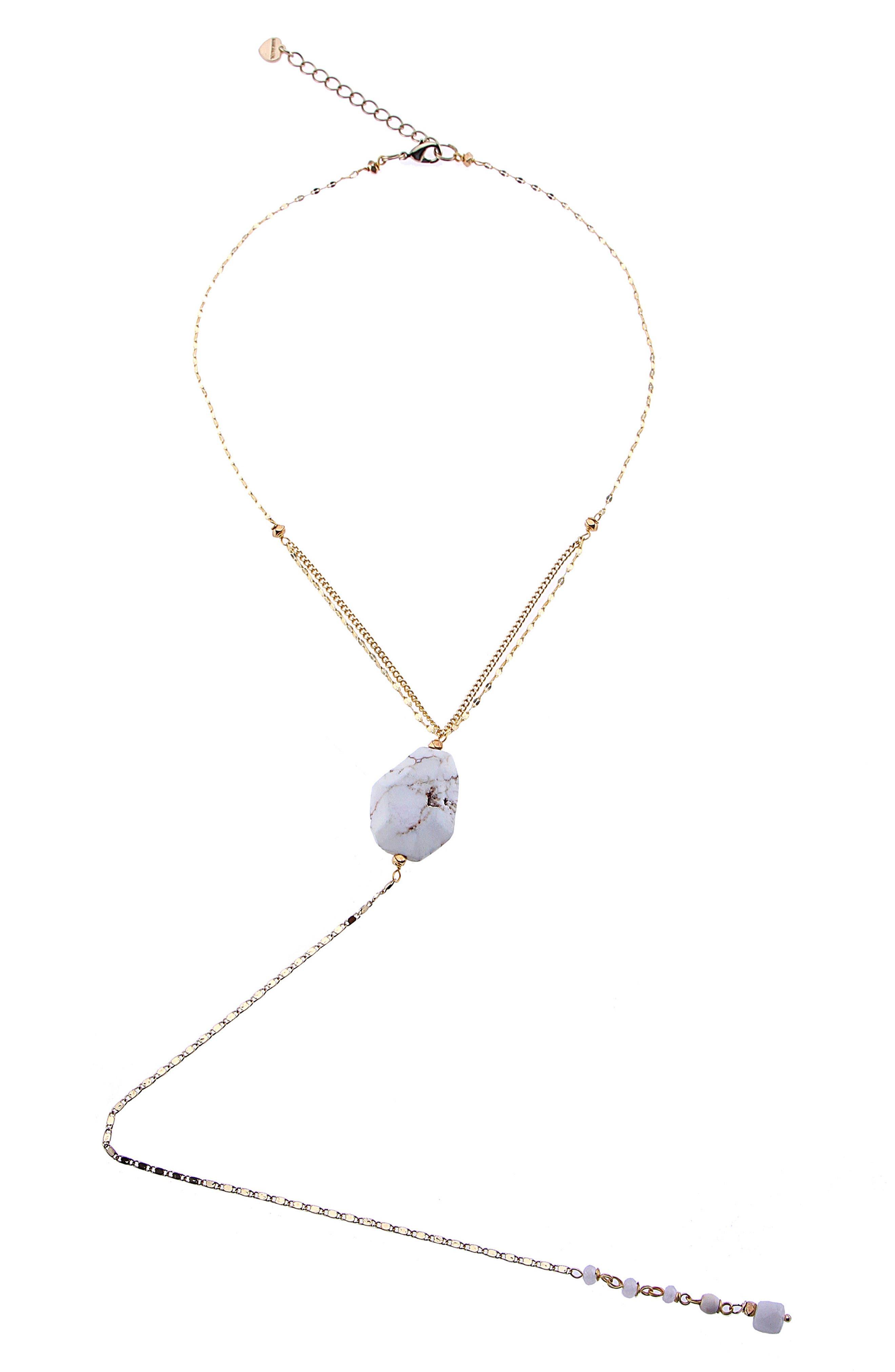 Howlite Y-Necklace,                         Main,                         color, 100