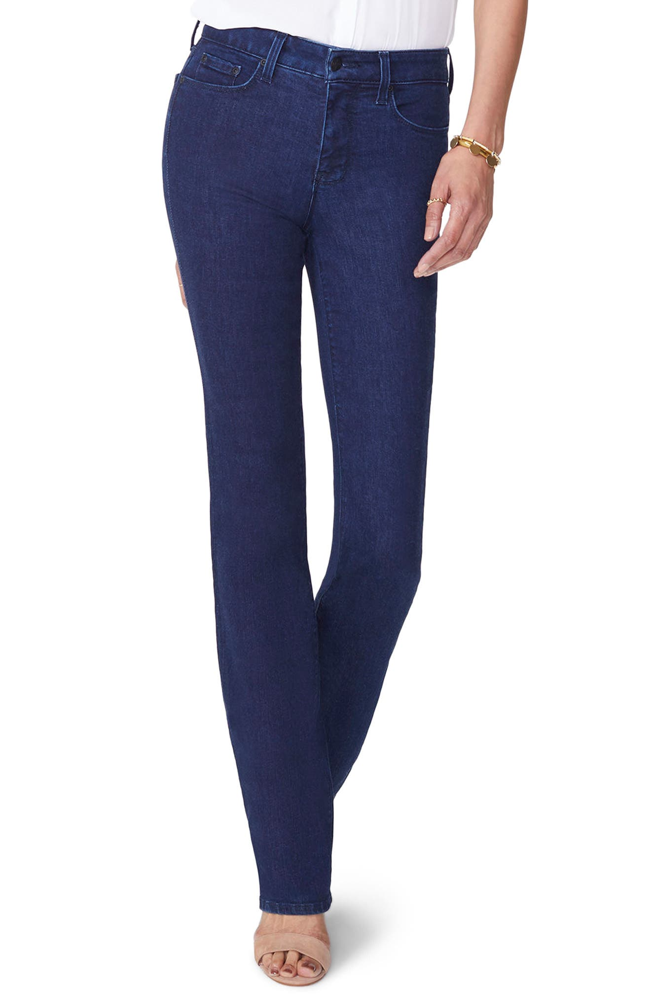 Marilyn High Waist Stretch Straight Leg Jeans,                             Main thumbnail 1, color,                             RINSE