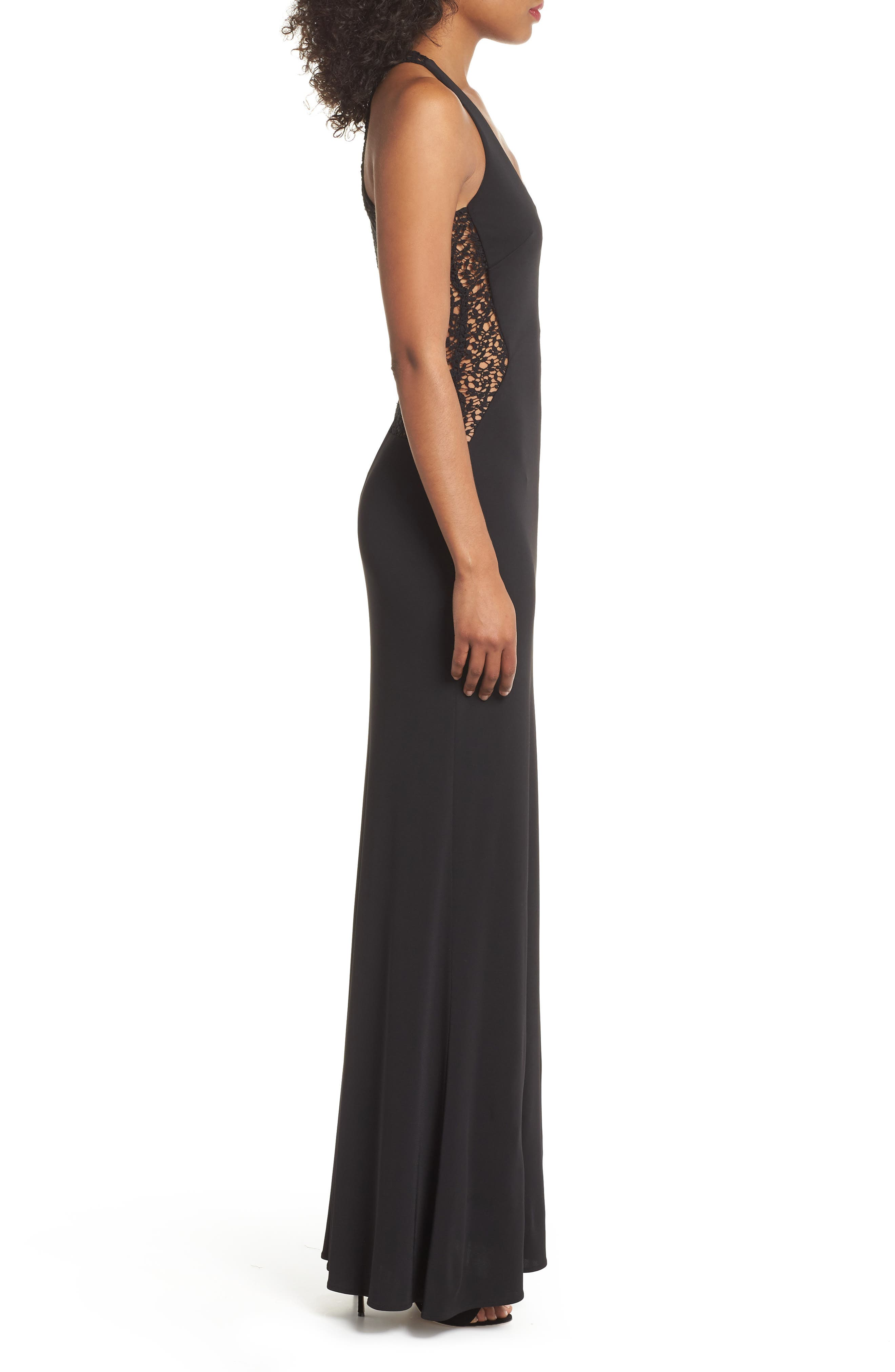 Riley Lace Inset Gown,                             Alternate thumbnail 3, color,                             001
