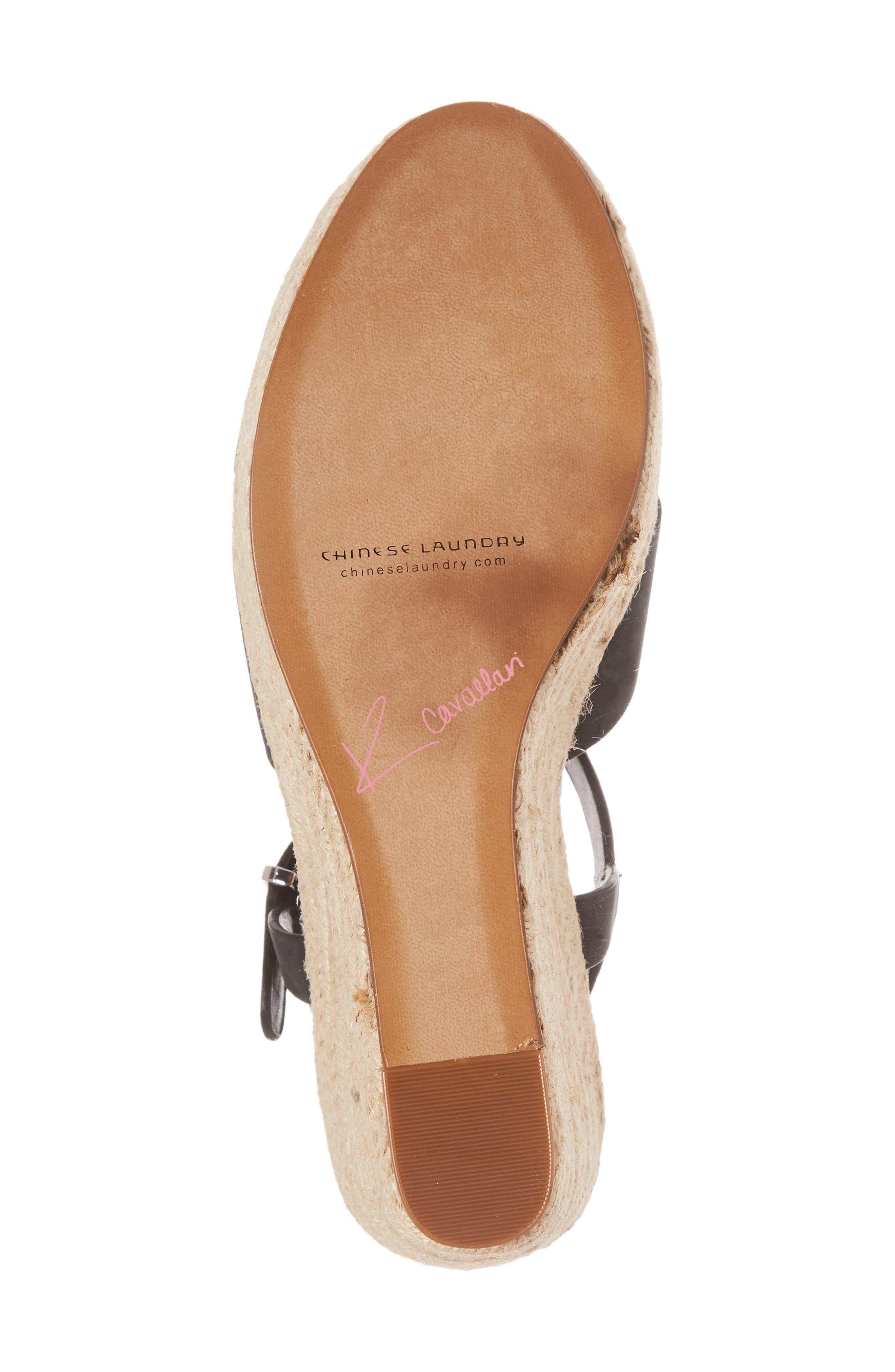 Mikah Espadrille Wedge Sandal,                             Alternate thumbnail 6, color,                             001