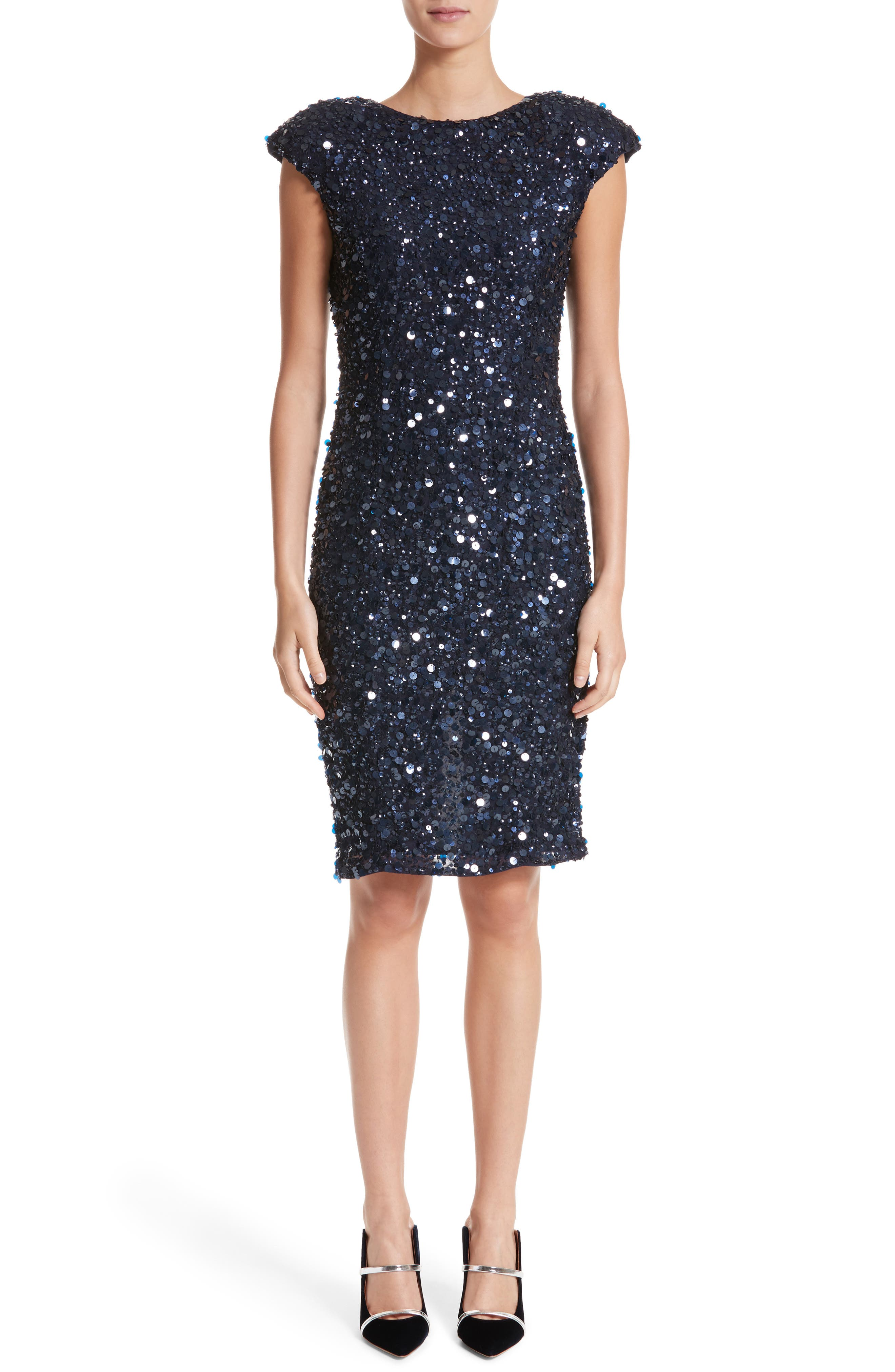 Hand Embellished Sequin Cocktail Dress,                             Main thumbnail 1, color,                             NAVY