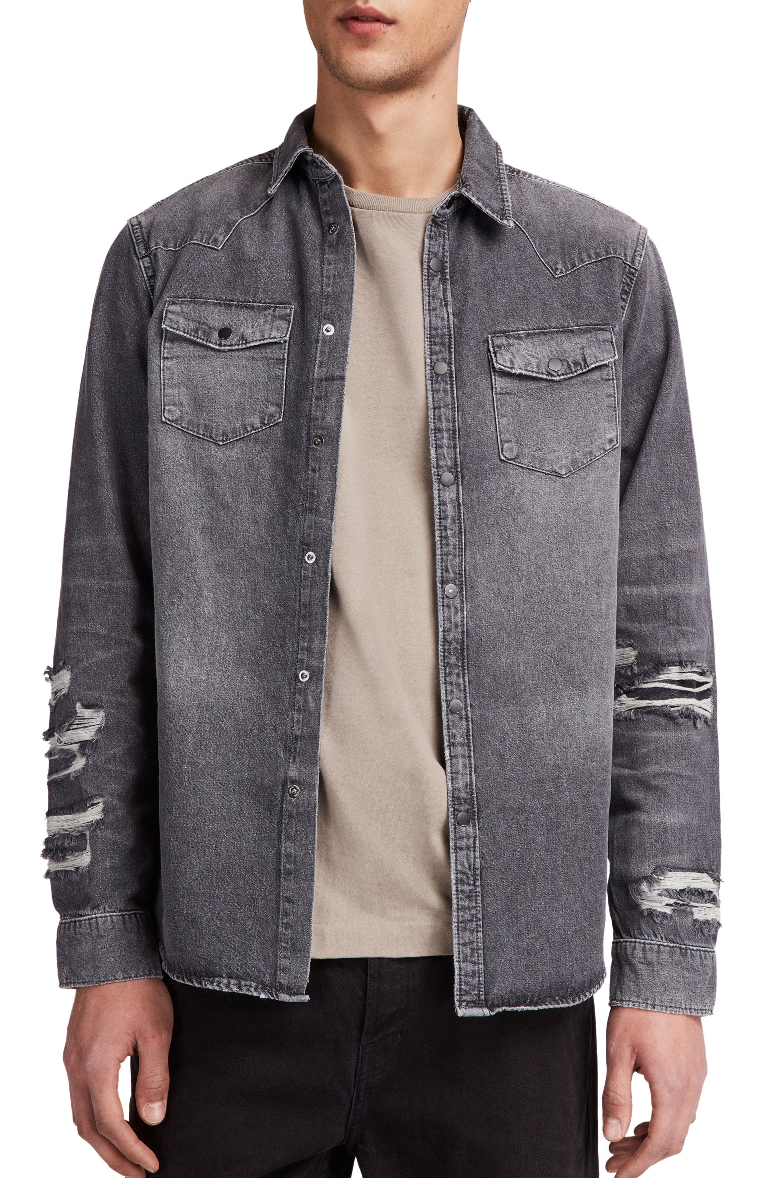 Beegan Distressed Denim Shirt Jacket,                         Main,                         color, 001
