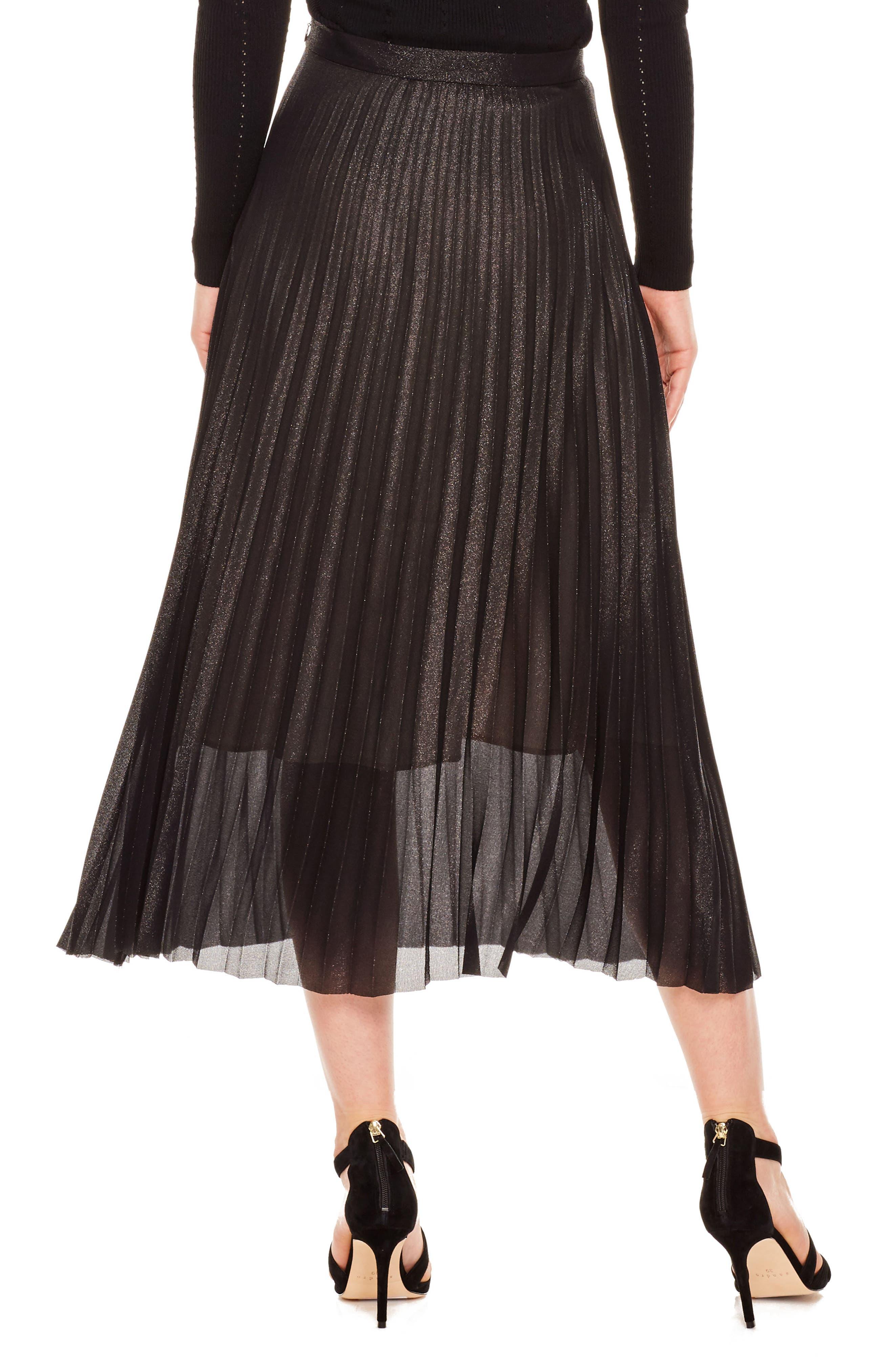 Delphina Pleat Midi Skirt,                             Alternate thumbnail 2, color,                             001