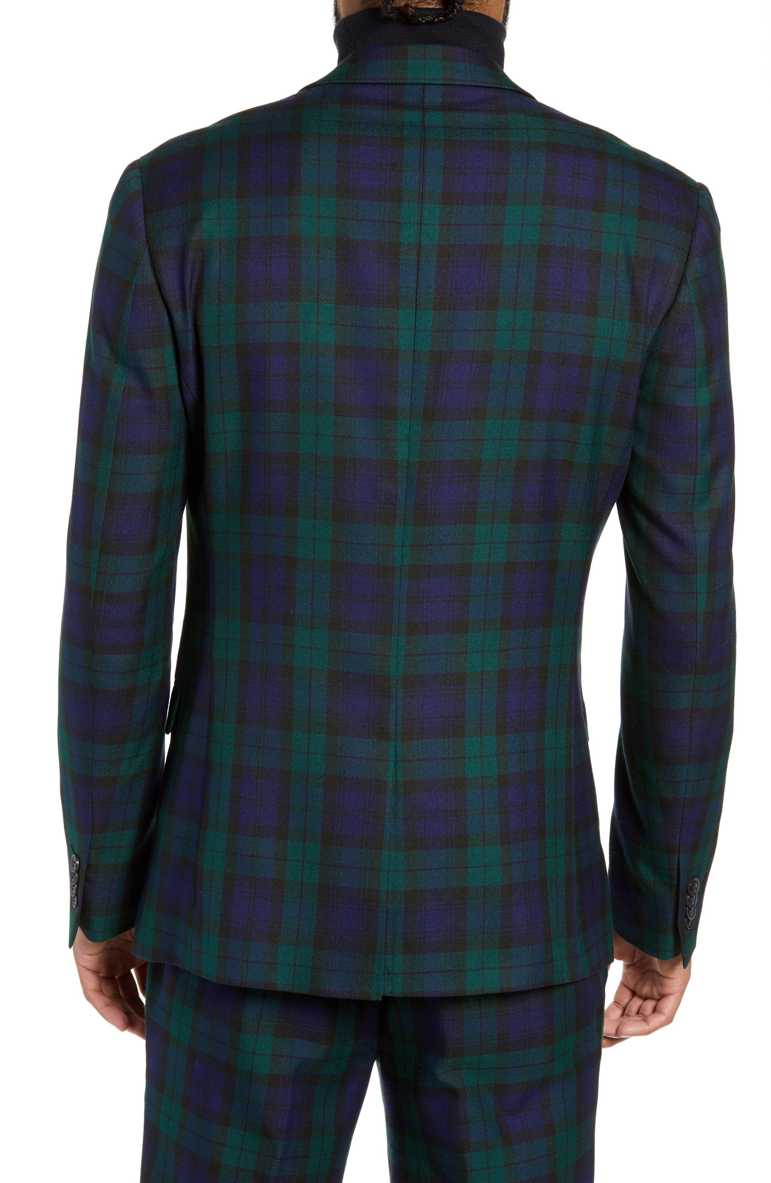 Plaid Slim Fit Suit Jacket,                             Alternate thumbnail 2, color,                             NAVY MULTI