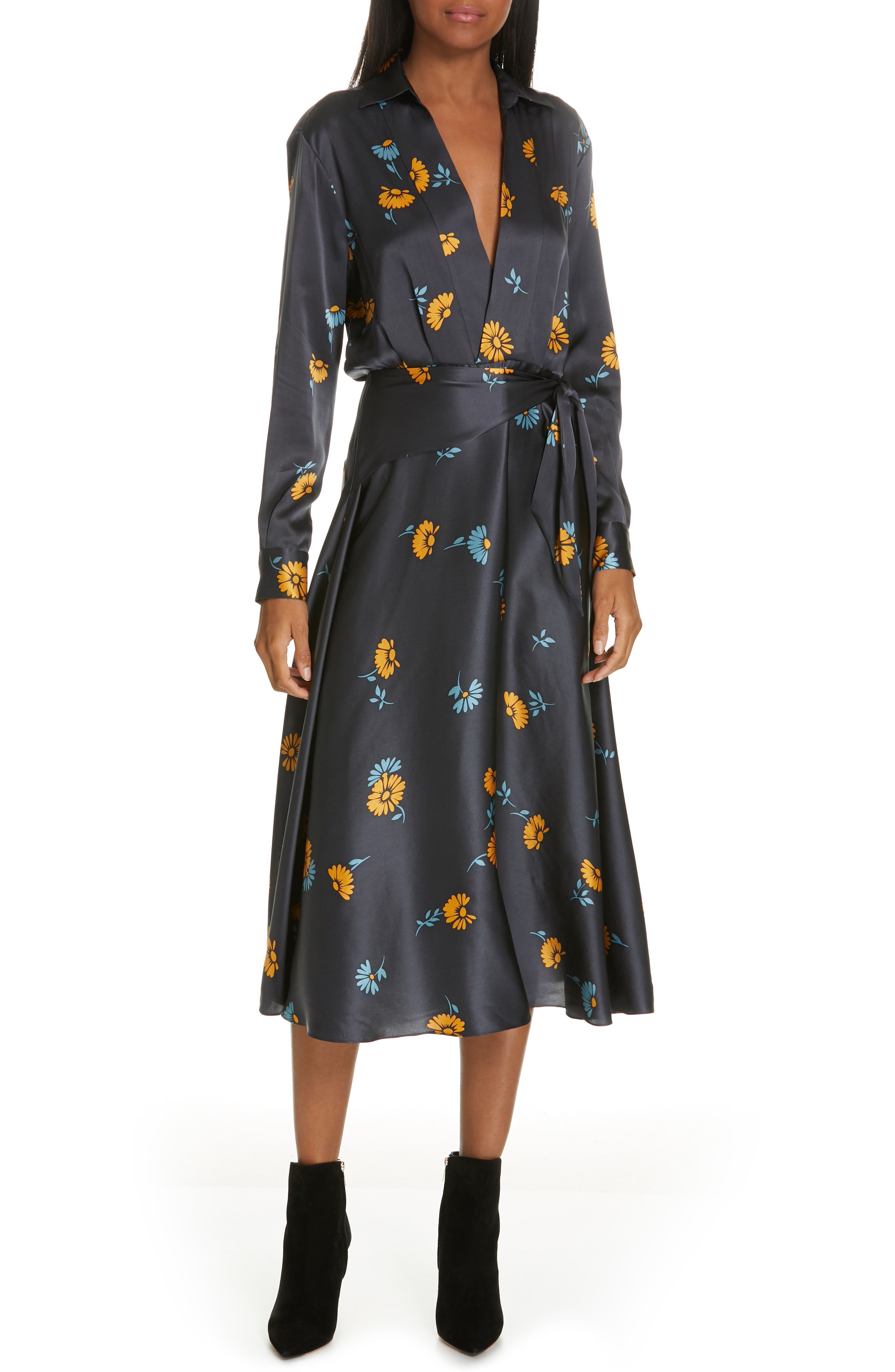 Equipment Vivienne Print Faux Wrap Silk Dress, Blue