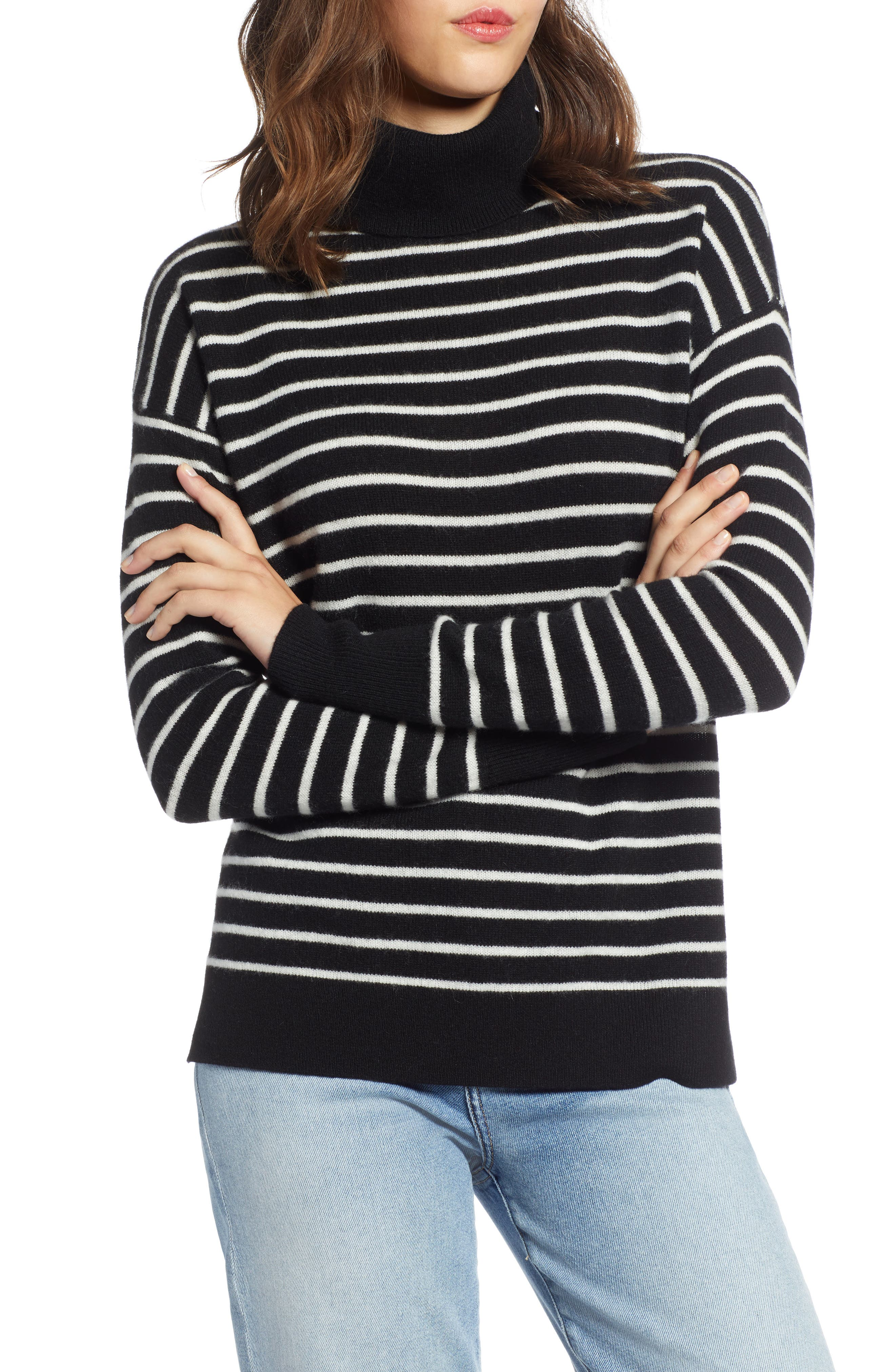 Cashmere Turtleneck Sweater,                         Main,                         color, BLACK- IVORY STRIPE