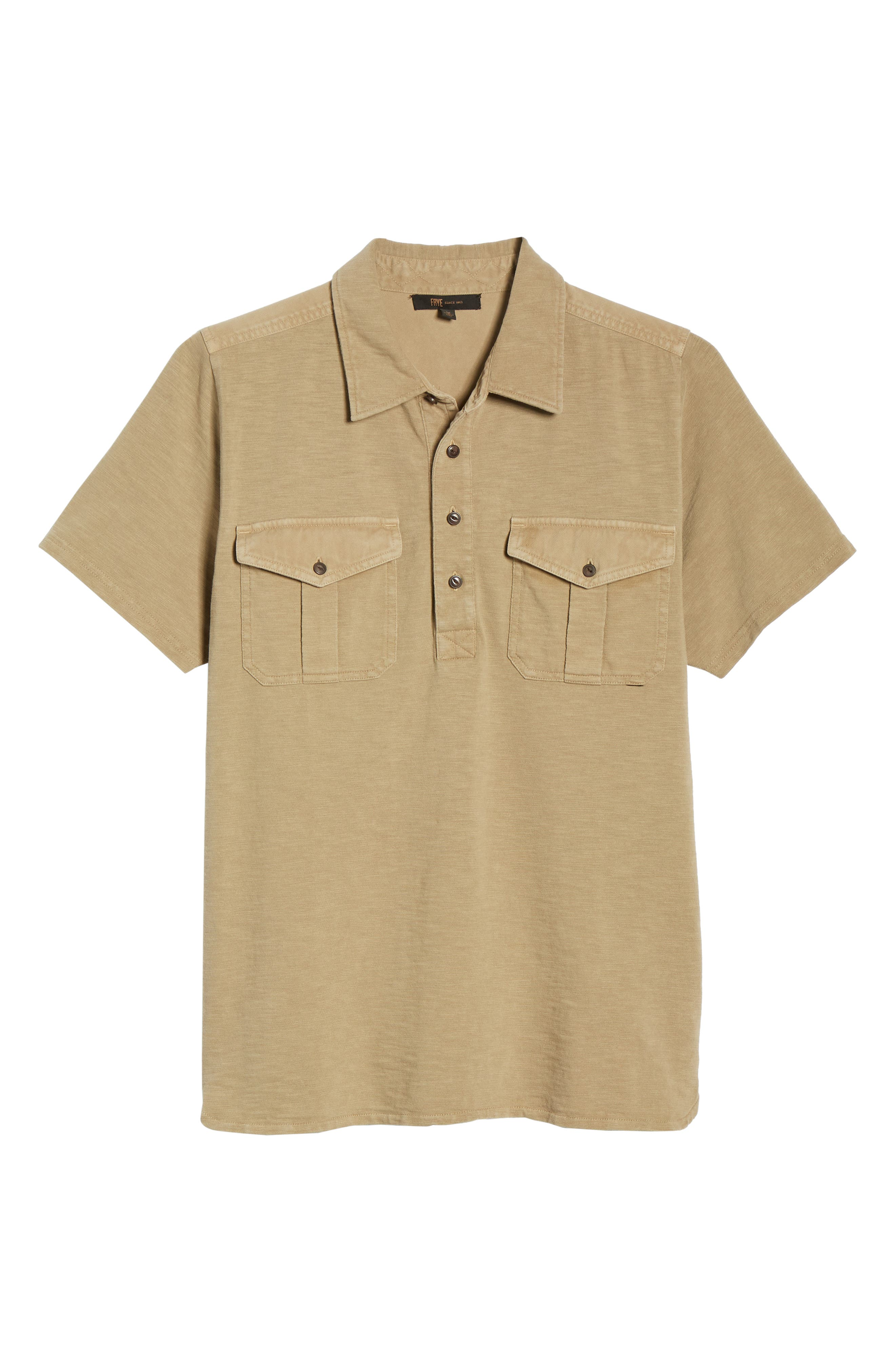 Two-Pocket Military Polo,                             Alternate thumbnail 6, color,                             BEIGE