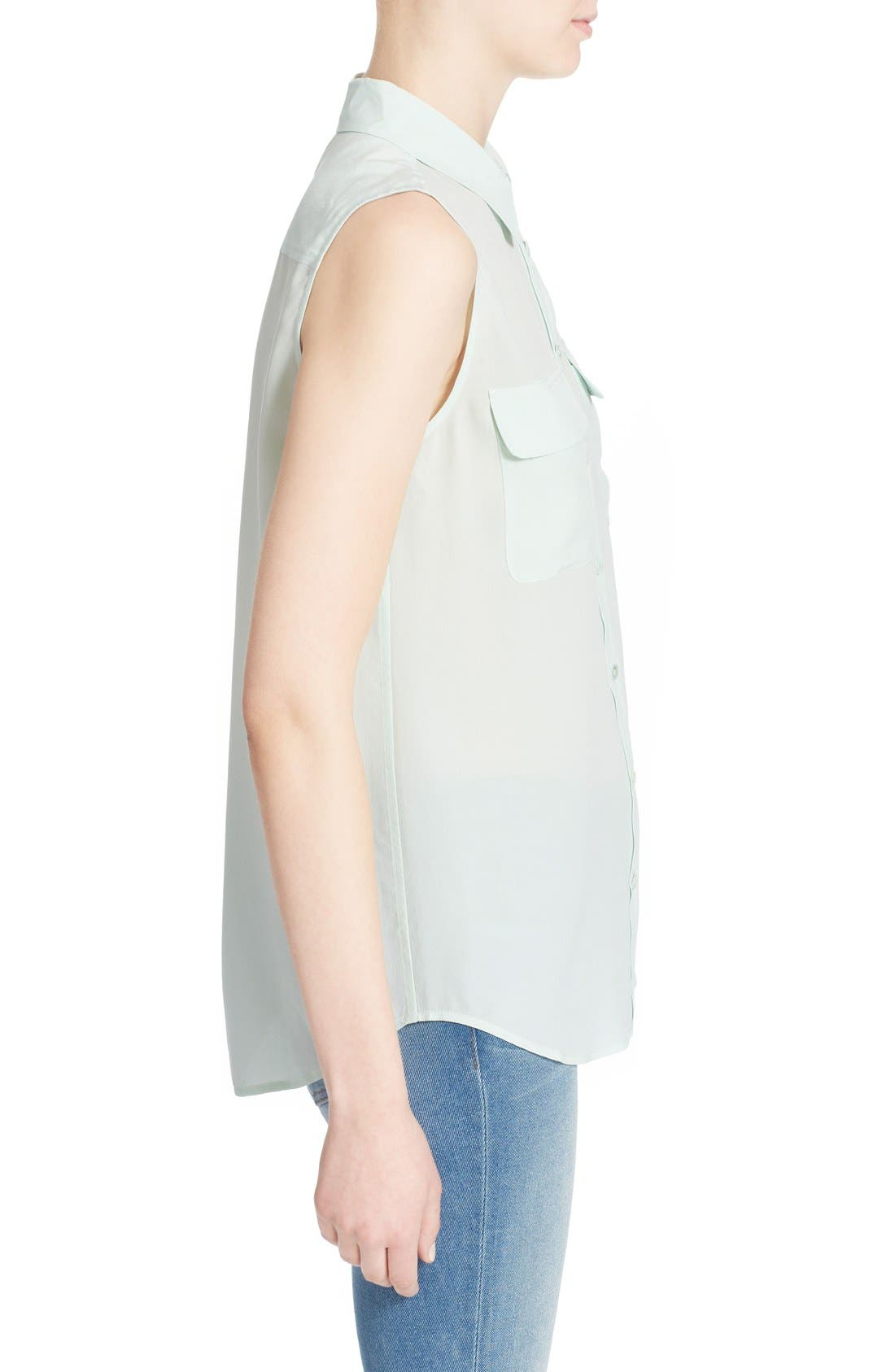 'Slim Signature' Sleeveless Silk Shirt,                             Alternate thumbnail 57, color,