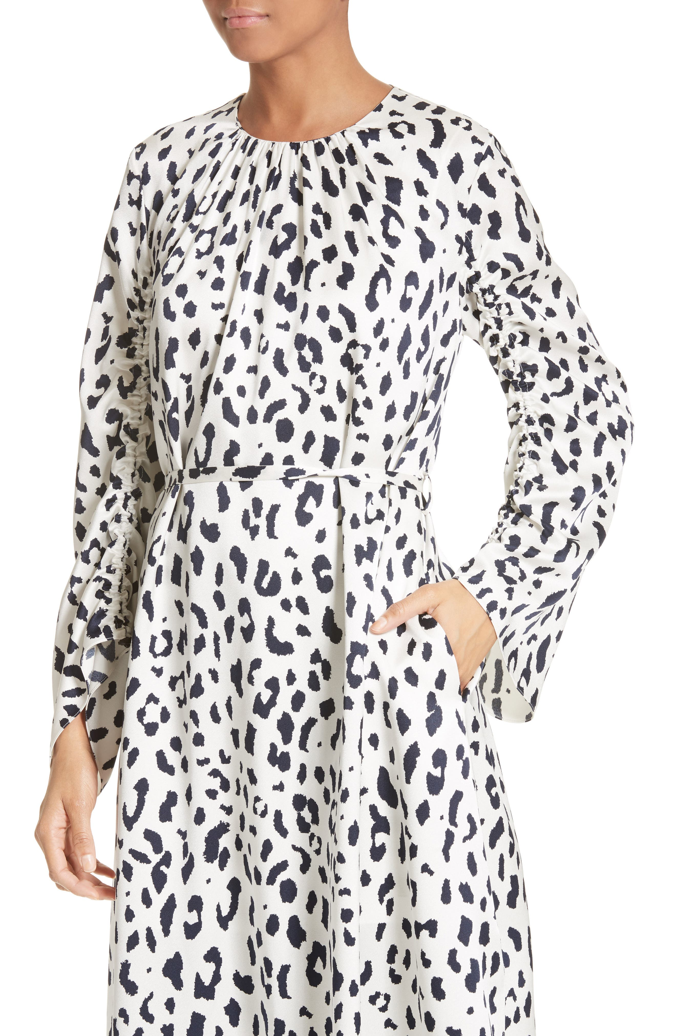 Cheetah Satin Dress,                             Alternate thumbnail 4, color,                             900