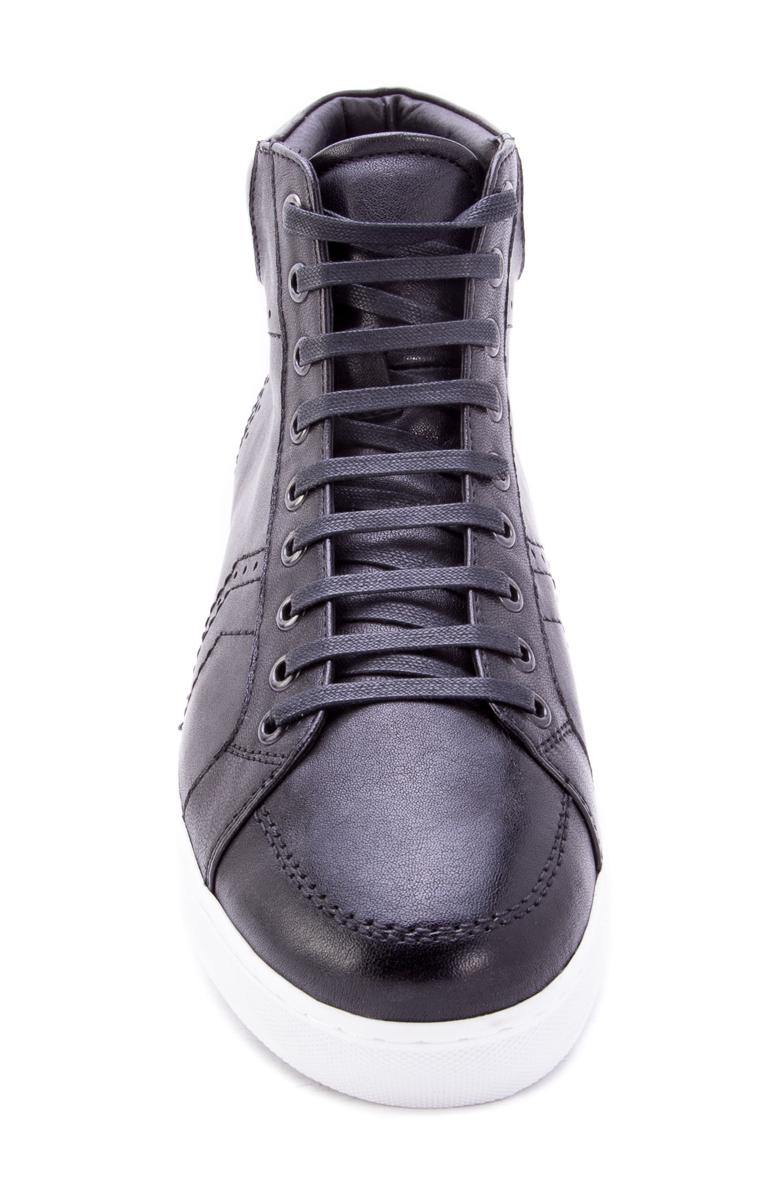 Uglow Perforated High Top Sneaker,                             Alternate thumbnail 5, color,                             BLACK LEATHER