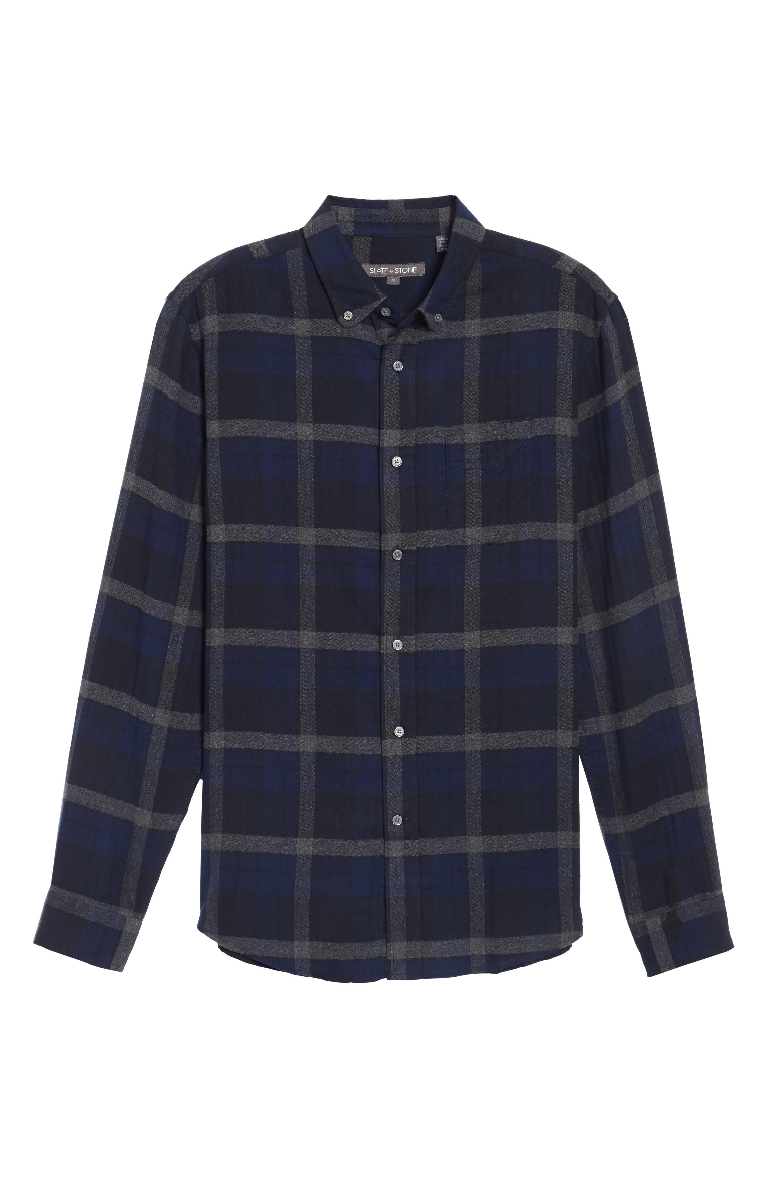 Trim Fit Plaid Flannel Sport Shirt,                             Alternate thumbnail 6, color,                             473