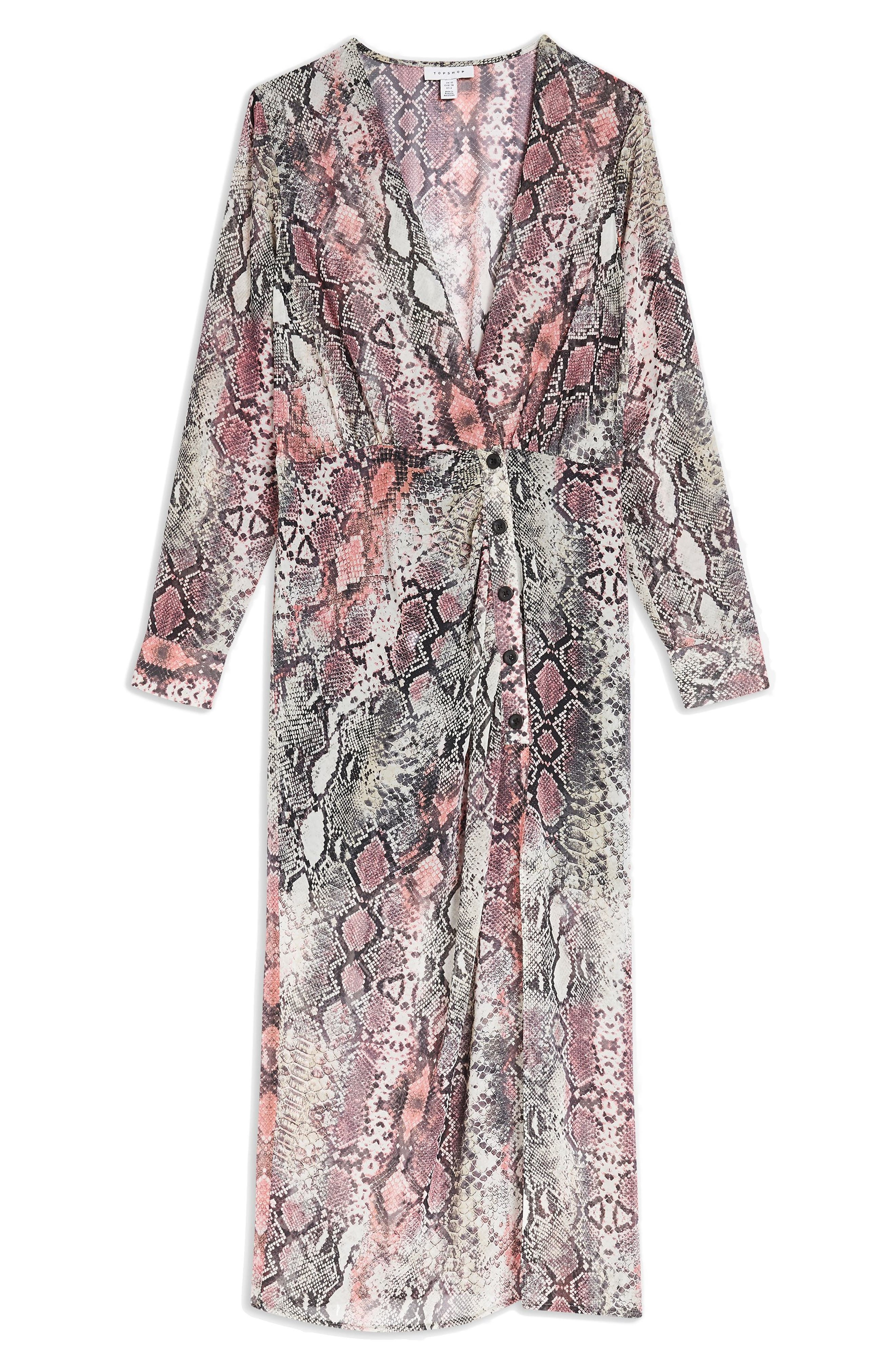 TOPSHOP,                             Snake Print Chiffon Midi Dress,                             Alternate thumbnail 3, color,                             PINK