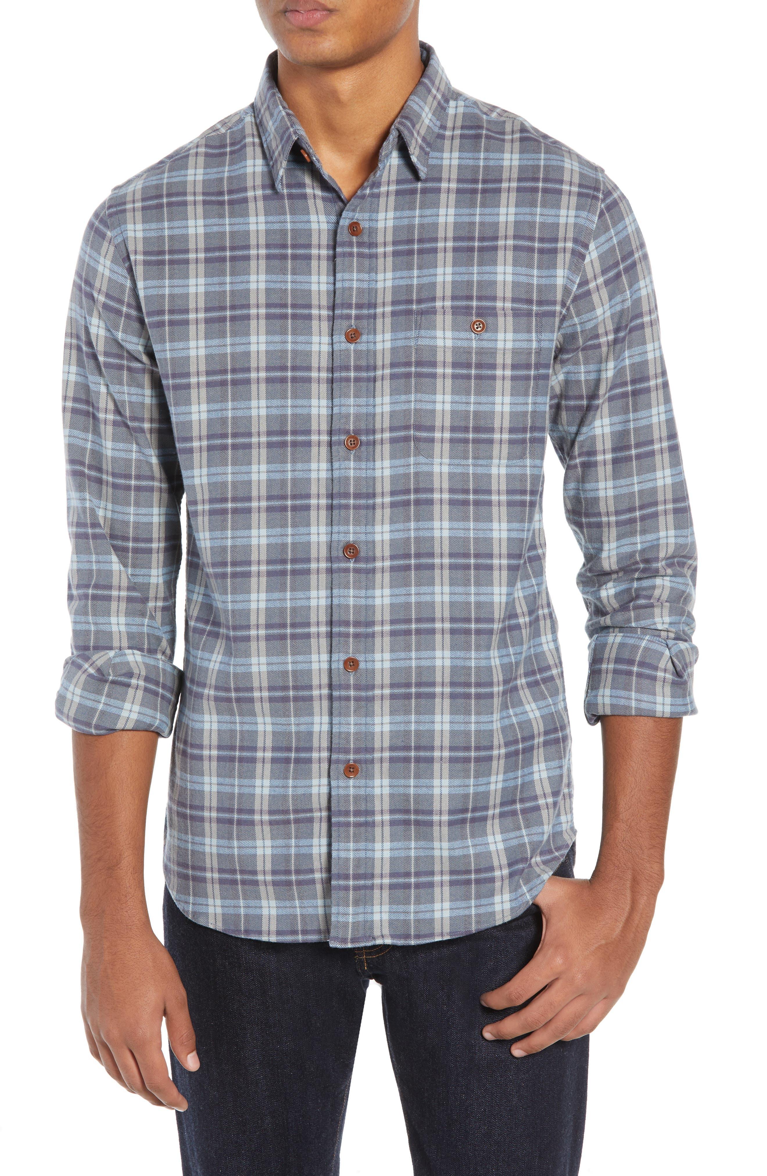 Seaview Stretch Flannel Shirt, Main, color, DARK BLUE GREY