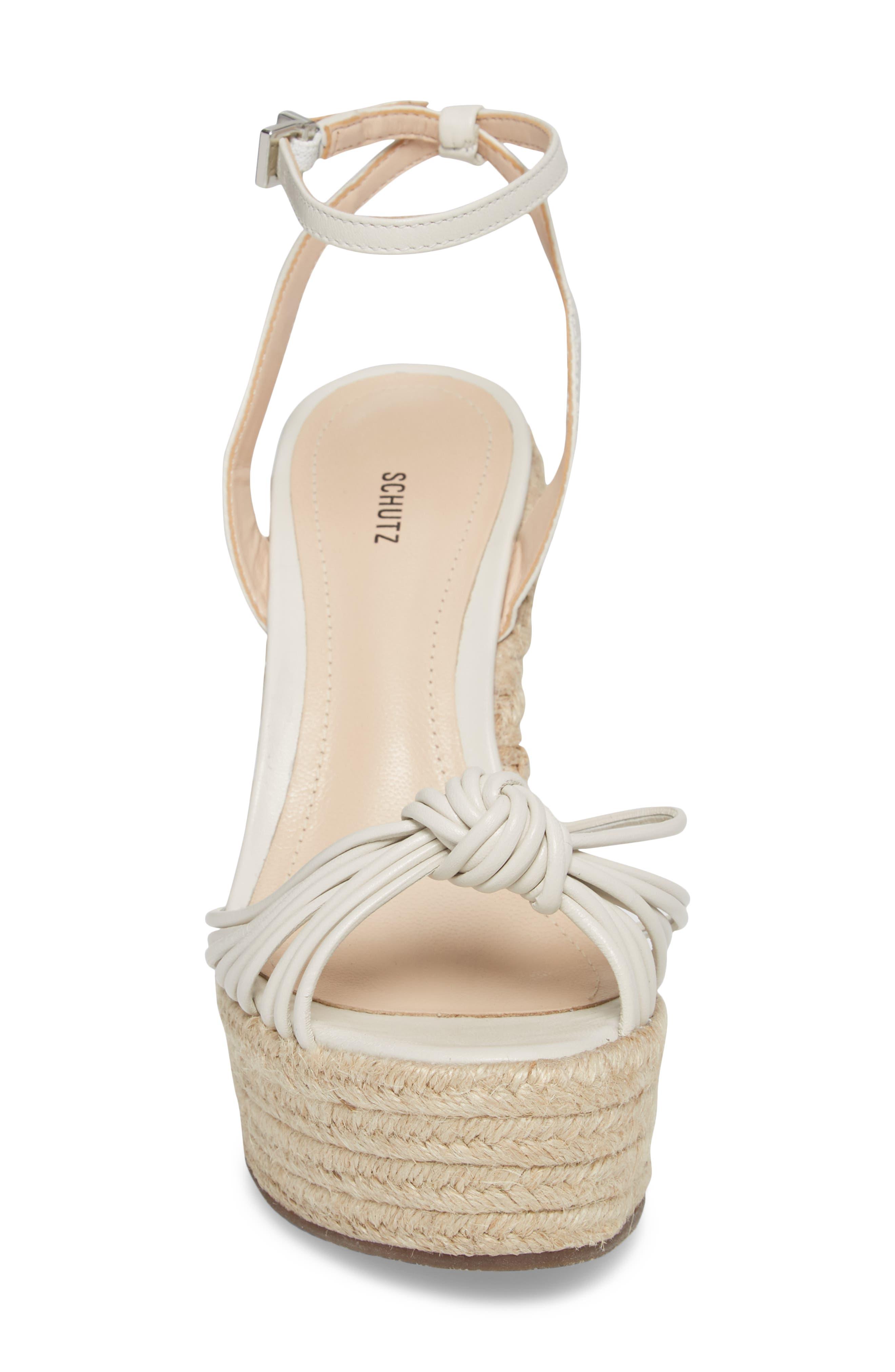 Gianne Platform Wedge Sandal,                             Alternate thumbnail 4, color,                             PEARL FABRIC