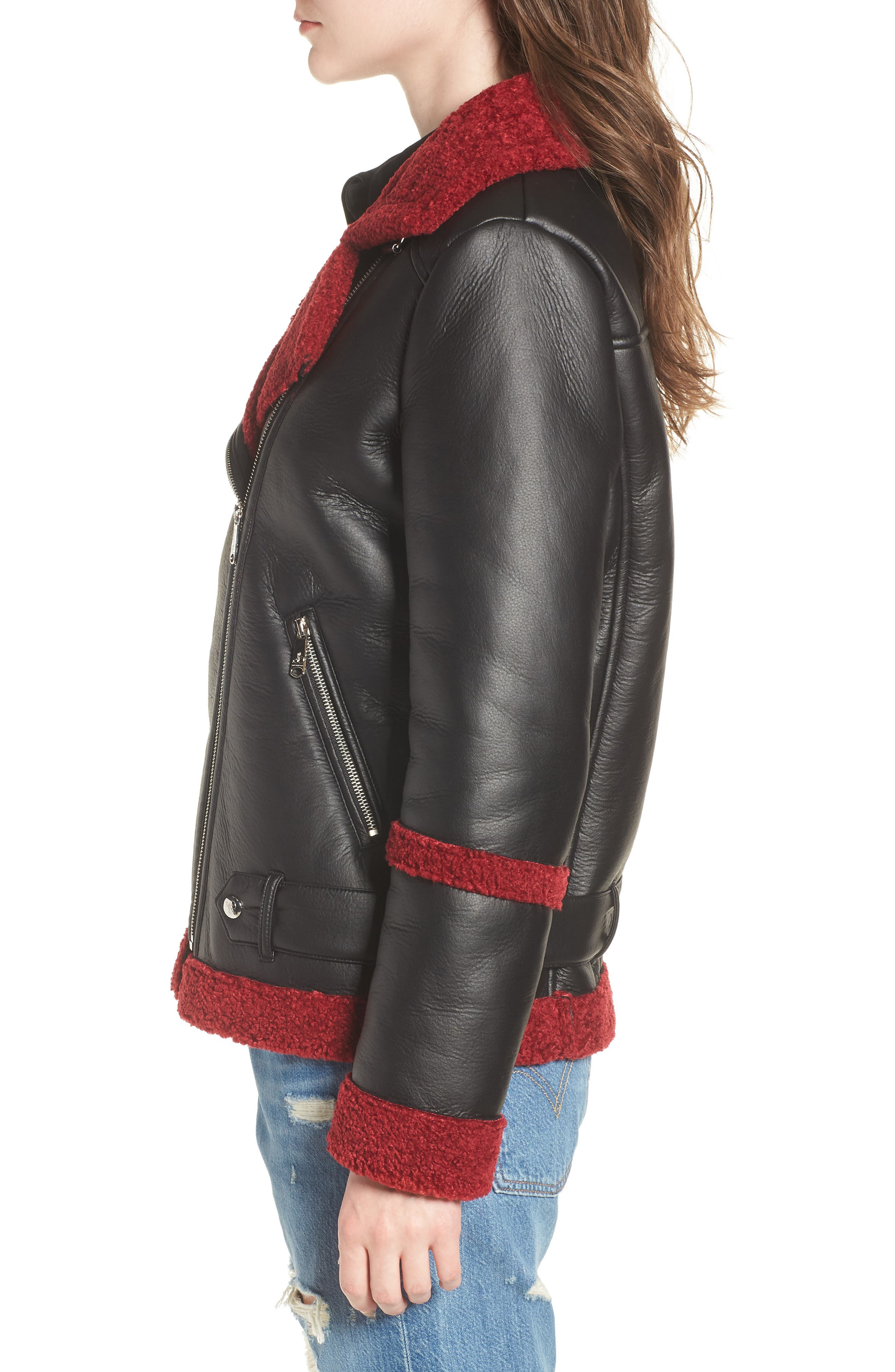 Oversize Faux Shearling Moto Jacket,                             Alternate thumbnail 3, color,                             001