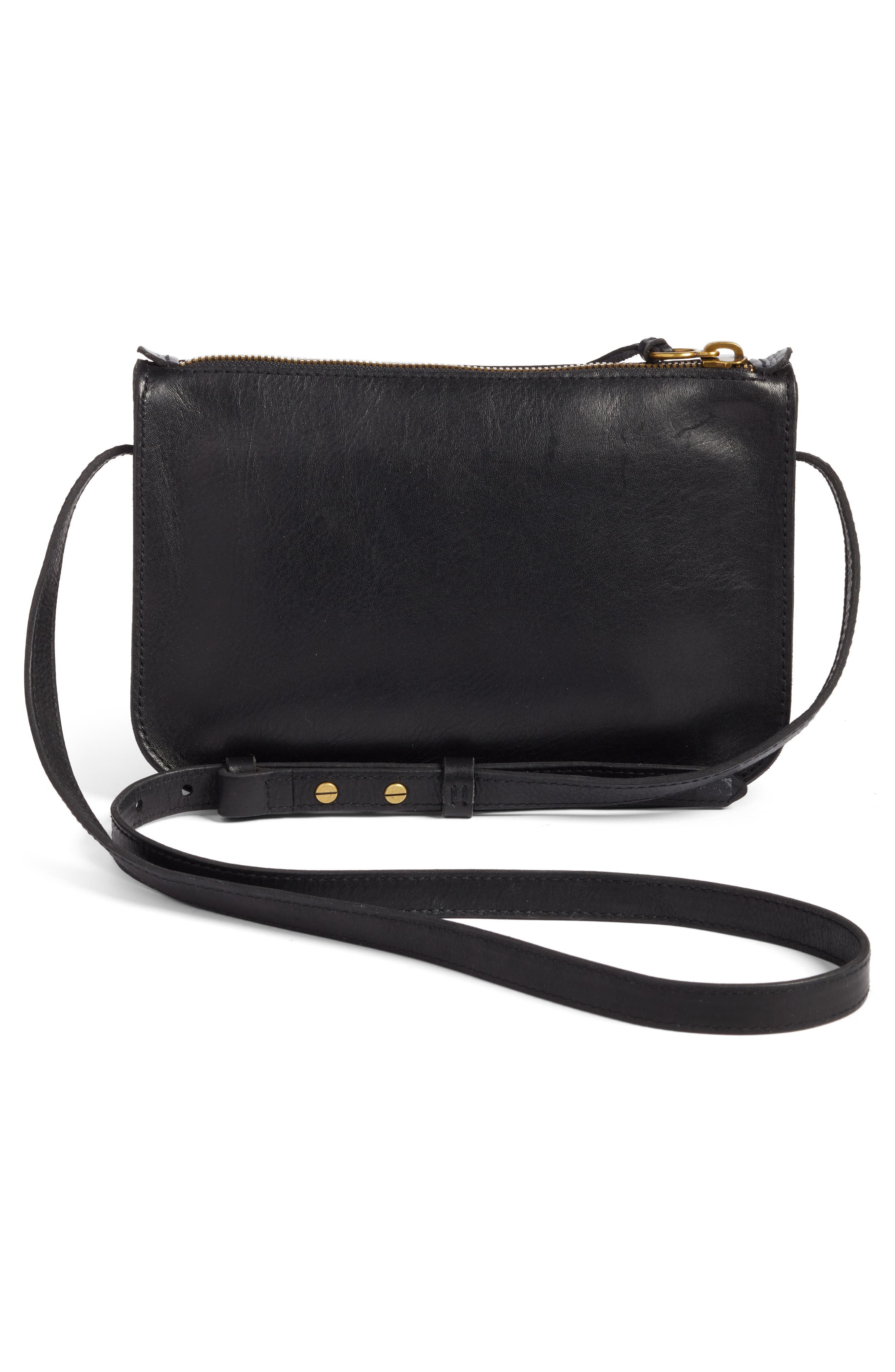 The Simple Leather Crossbody Bag,                             Alternate thumbnail 3, color,                             TRUE BLACK