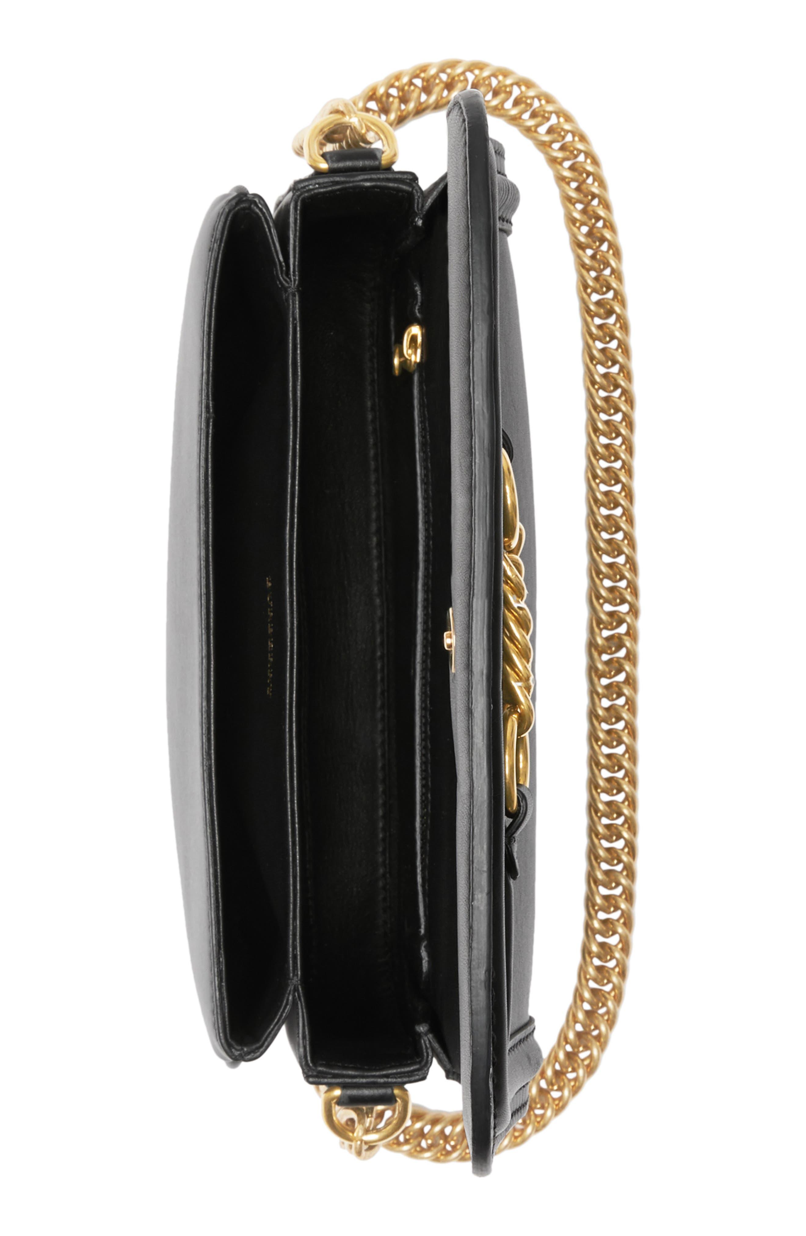 Link Flap Leather Crossbody Bag,                             Alternate thumbnail 4, color,                             BLACK