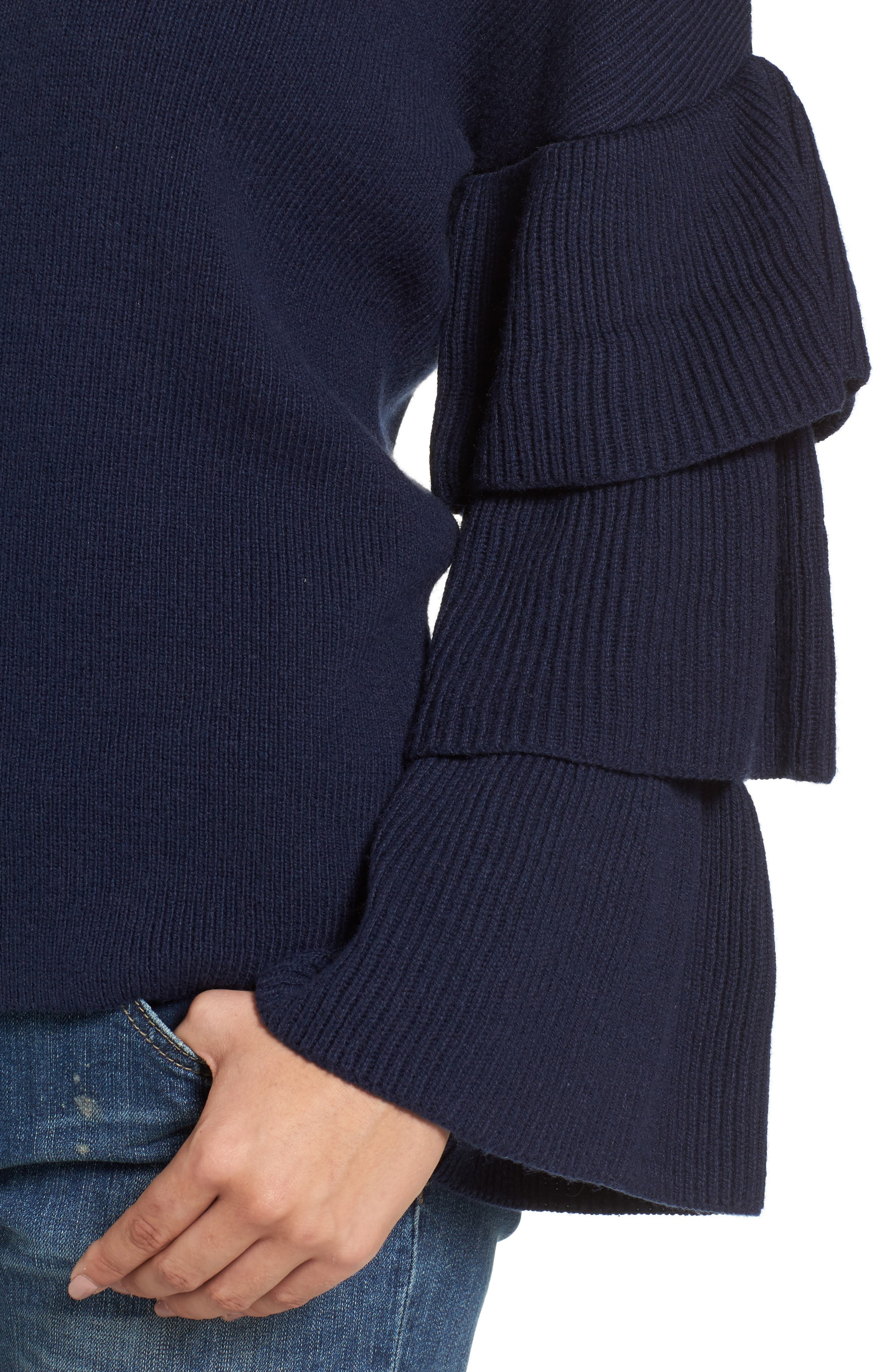 Ruffle Sleeve Sweater,                             Alternate thumbnail 15, color,