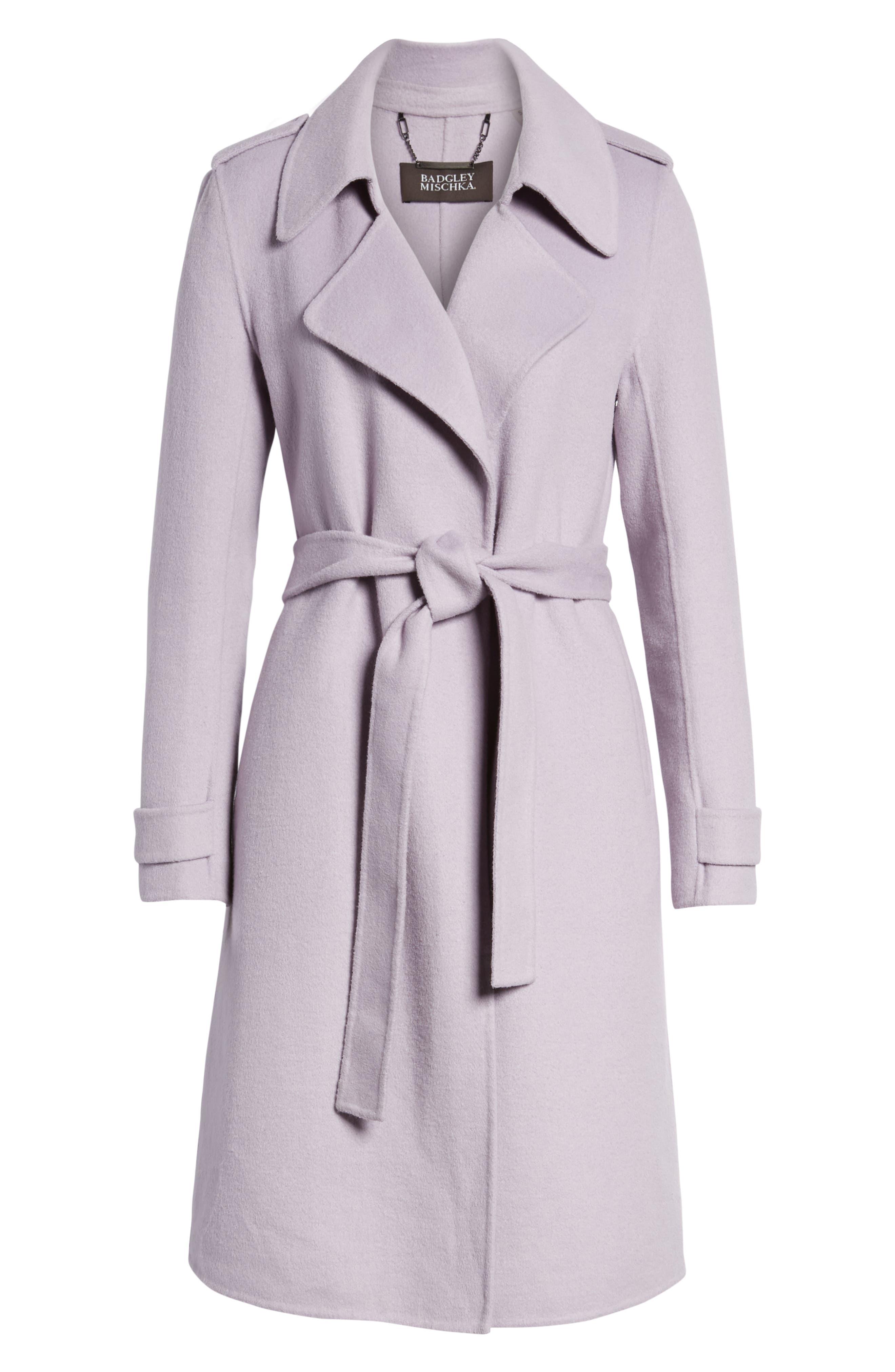 Double Face Wool Blend Wrap Front Coat,                             Alternate thumbnail 6, color,                             LAVENDER
