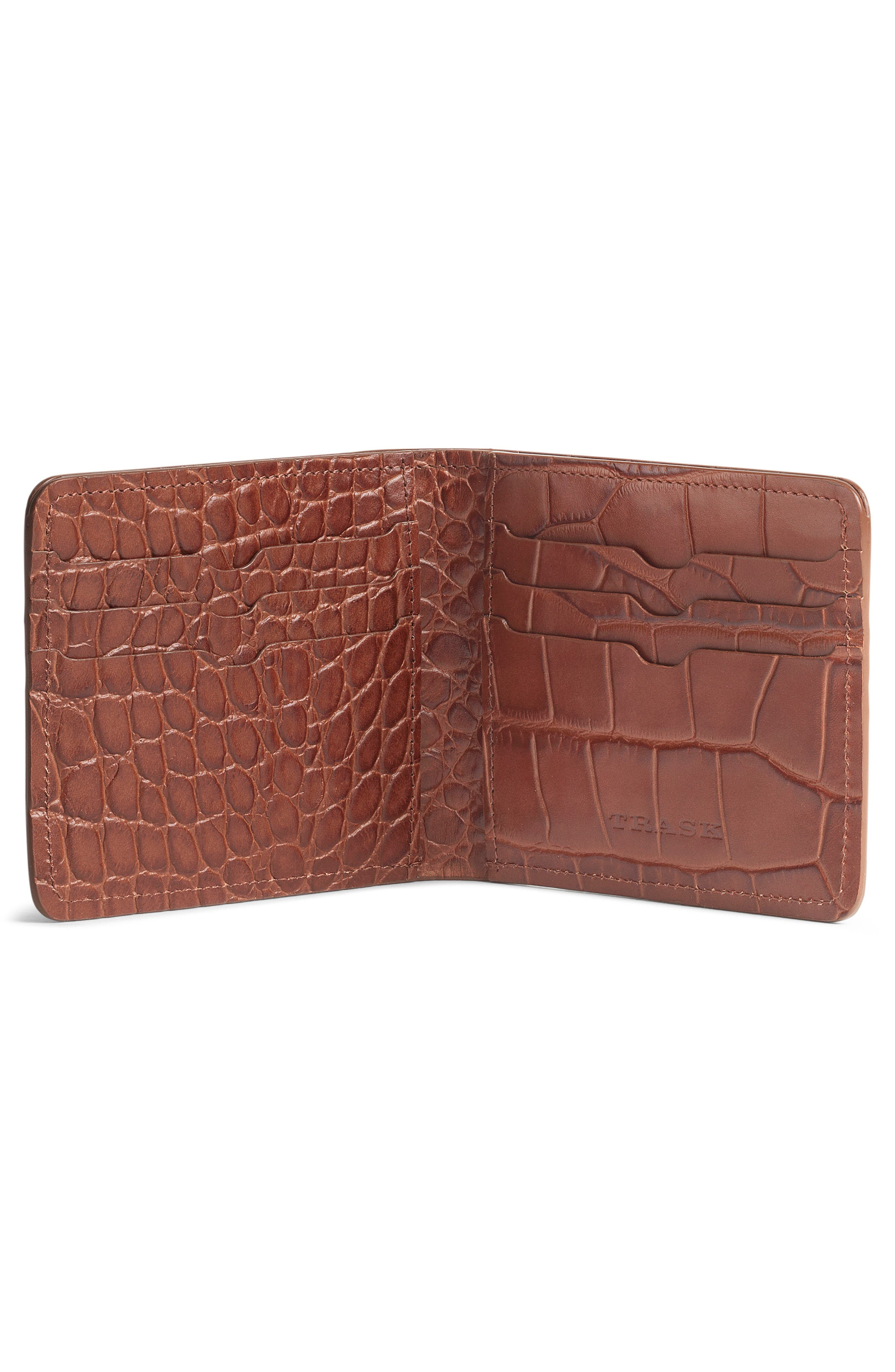 'Jackson' Slimfold Embossed Leather Wallet,                             Alternate thumbnail 2, color,                             SCOTCH
