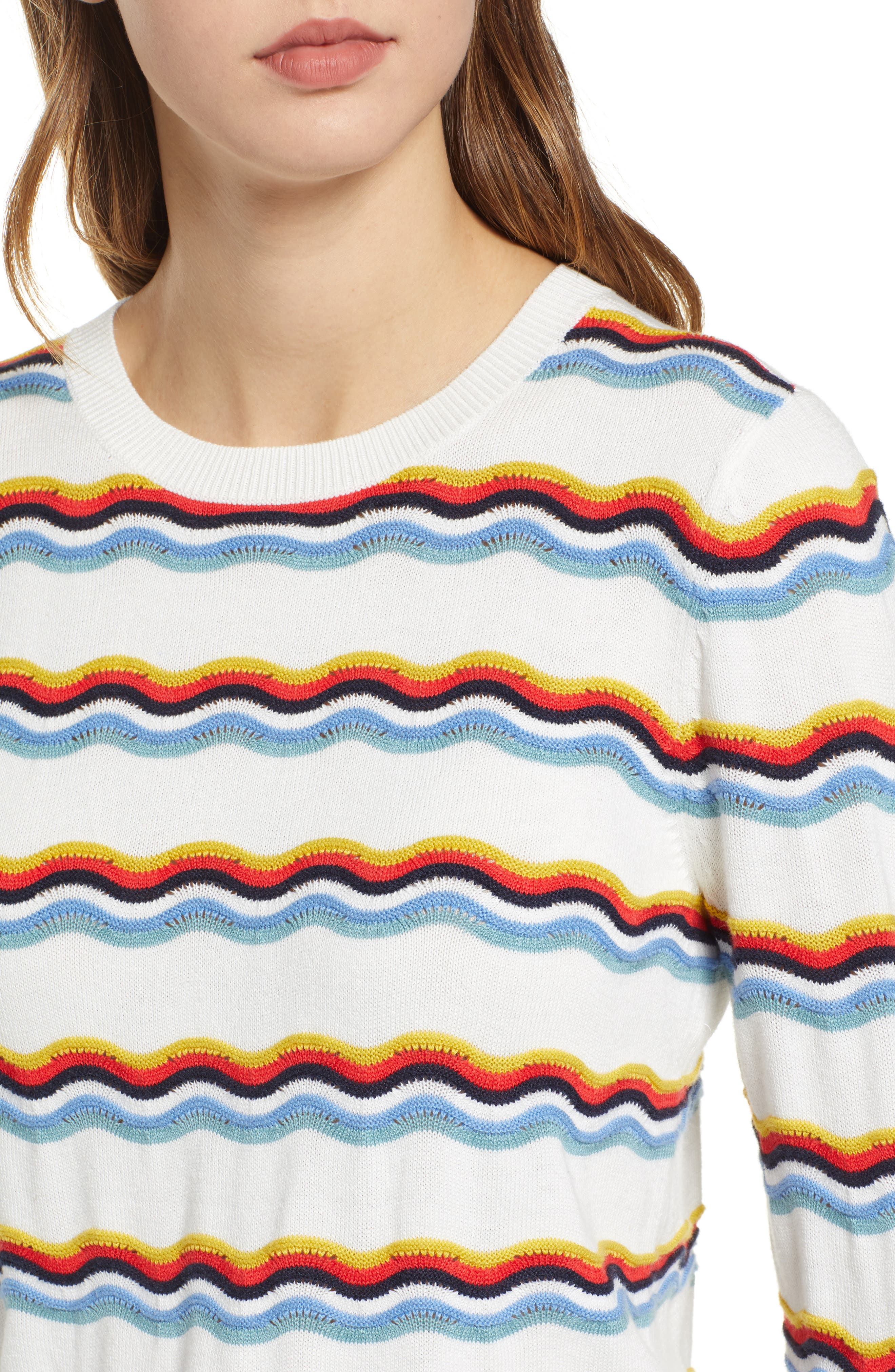 1901,                             Rickrack Sweater,                             Alternate thumbnail 4, color,                             IVORY CLOUD WAVE STRIPE