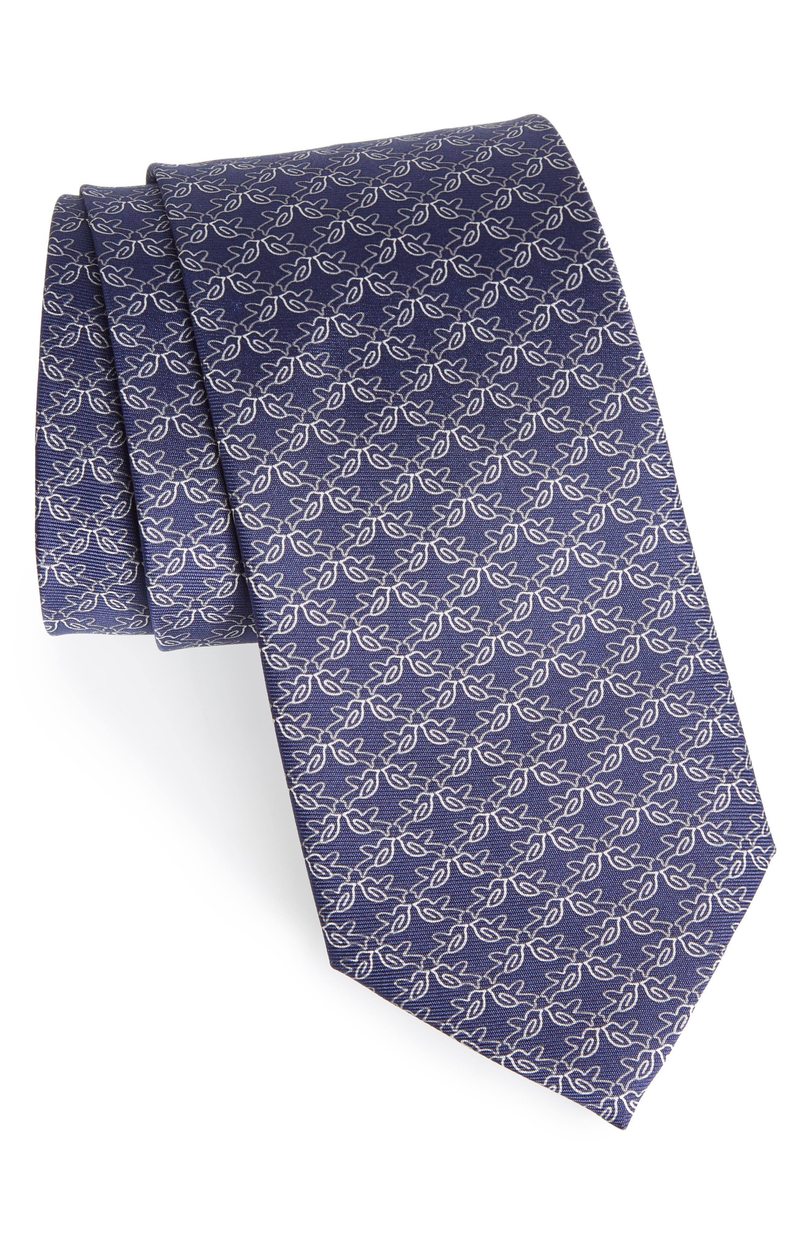 Bird Print Silk Tie,                         Main,                         color, 410