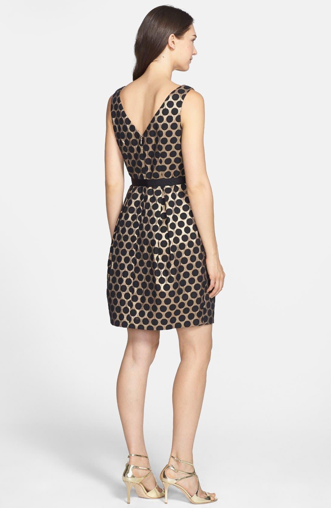 ELIZA J,                             Dot Jacquard Fit & Flare Dress,                             Alternate thumbnail 3, color,                             717