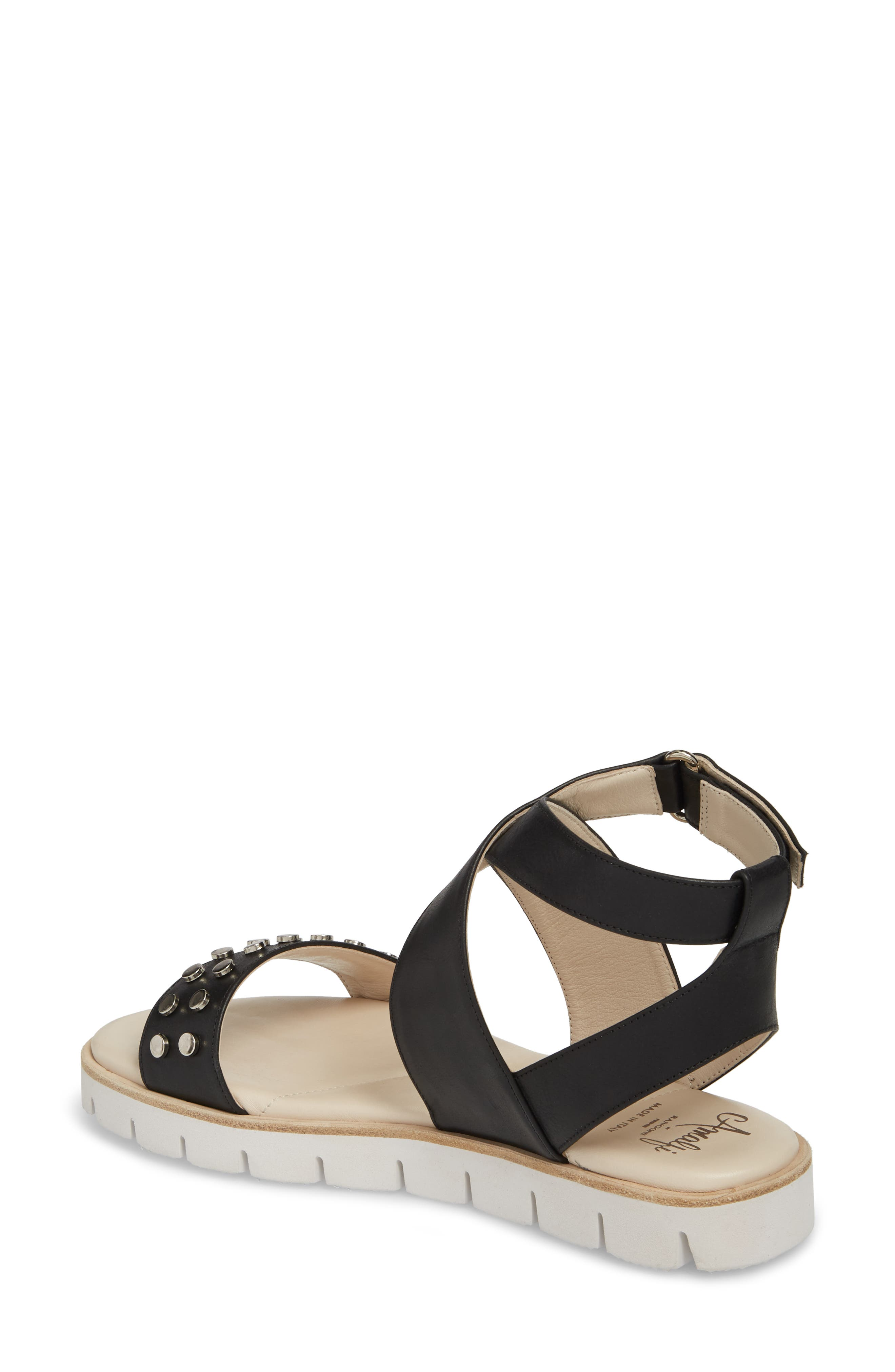 Barlume Sandal,                             Alternate thumbnail 2, color,                             BLACK LEATHER