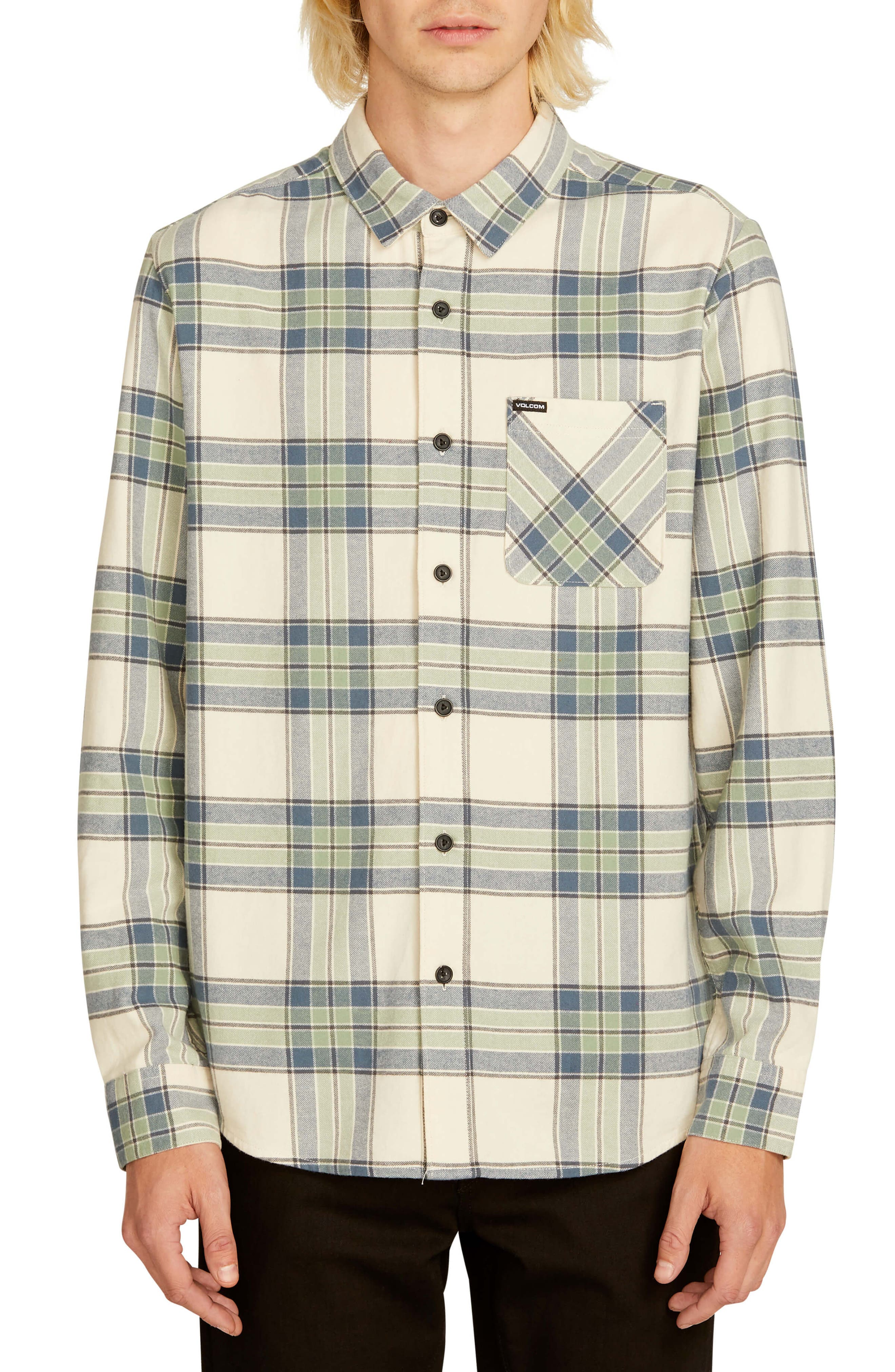 Volcom Caden Plaid Flannel Shirt, Ivory