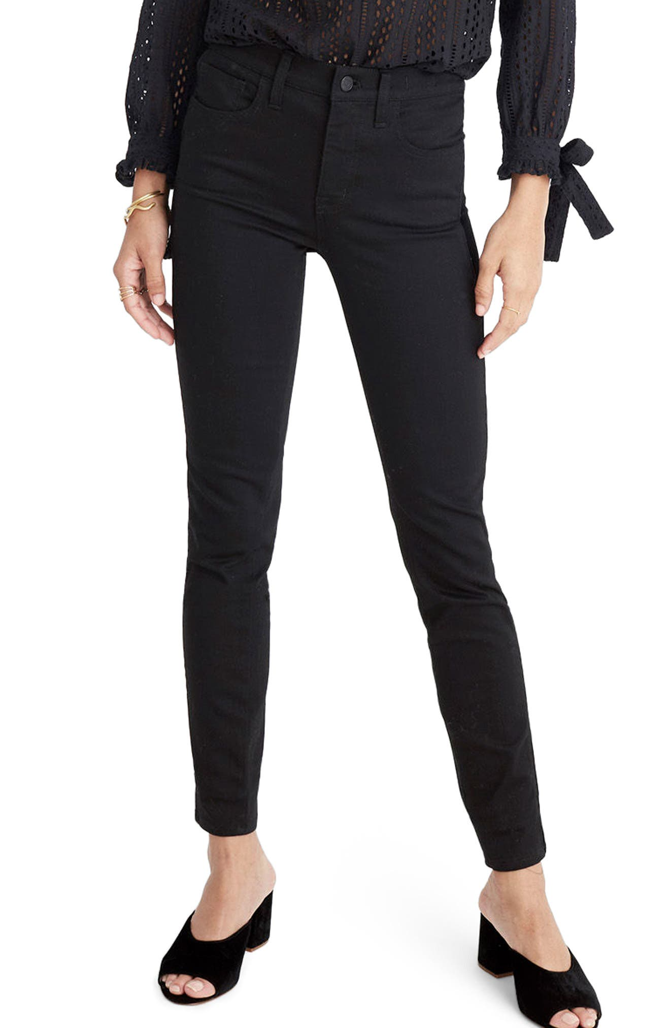 9-Inch High Waist Tuxedo Stripe Skinny Jeans,                         Main,                         color, 009