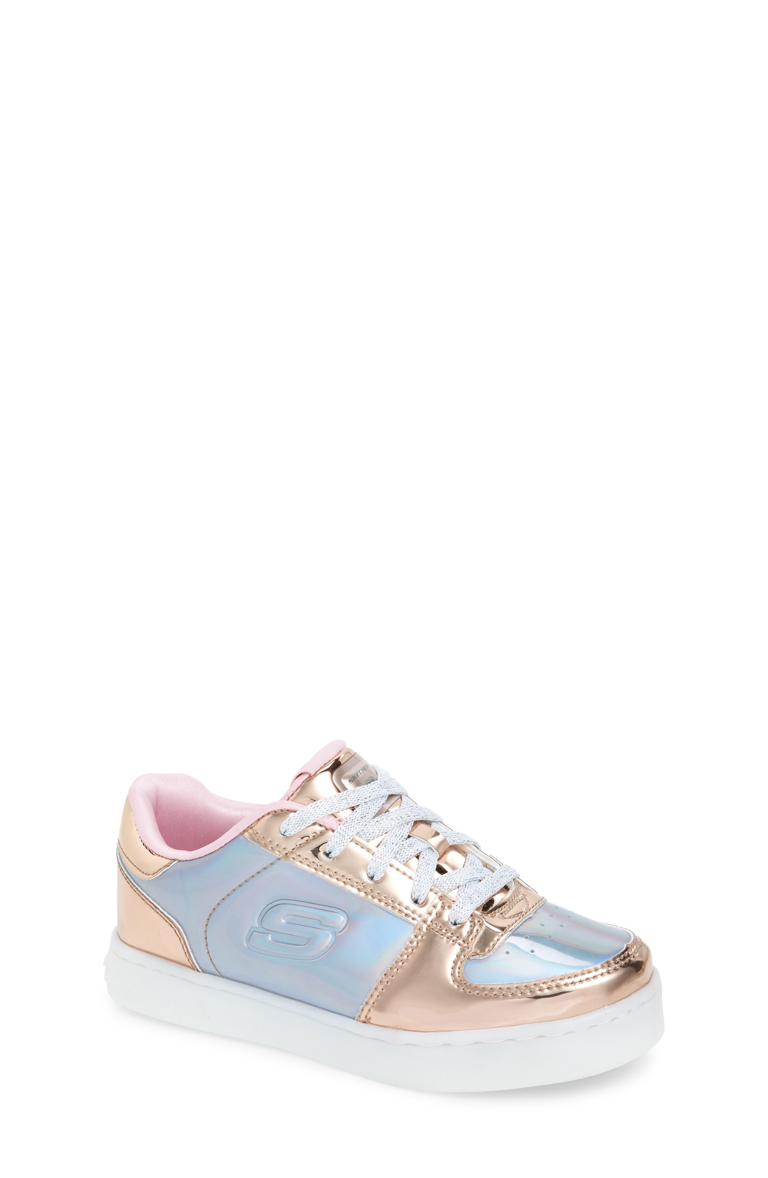 SKECHERS Energy Lights Shiny Light-Up Sneaker, Main, color, 222