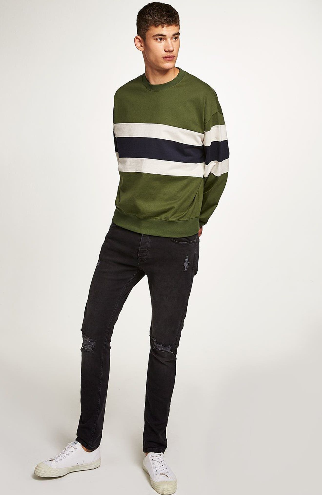 Colorblock Stripe Sweatshirt,                             Alternate thumbnail 8, color,                             330