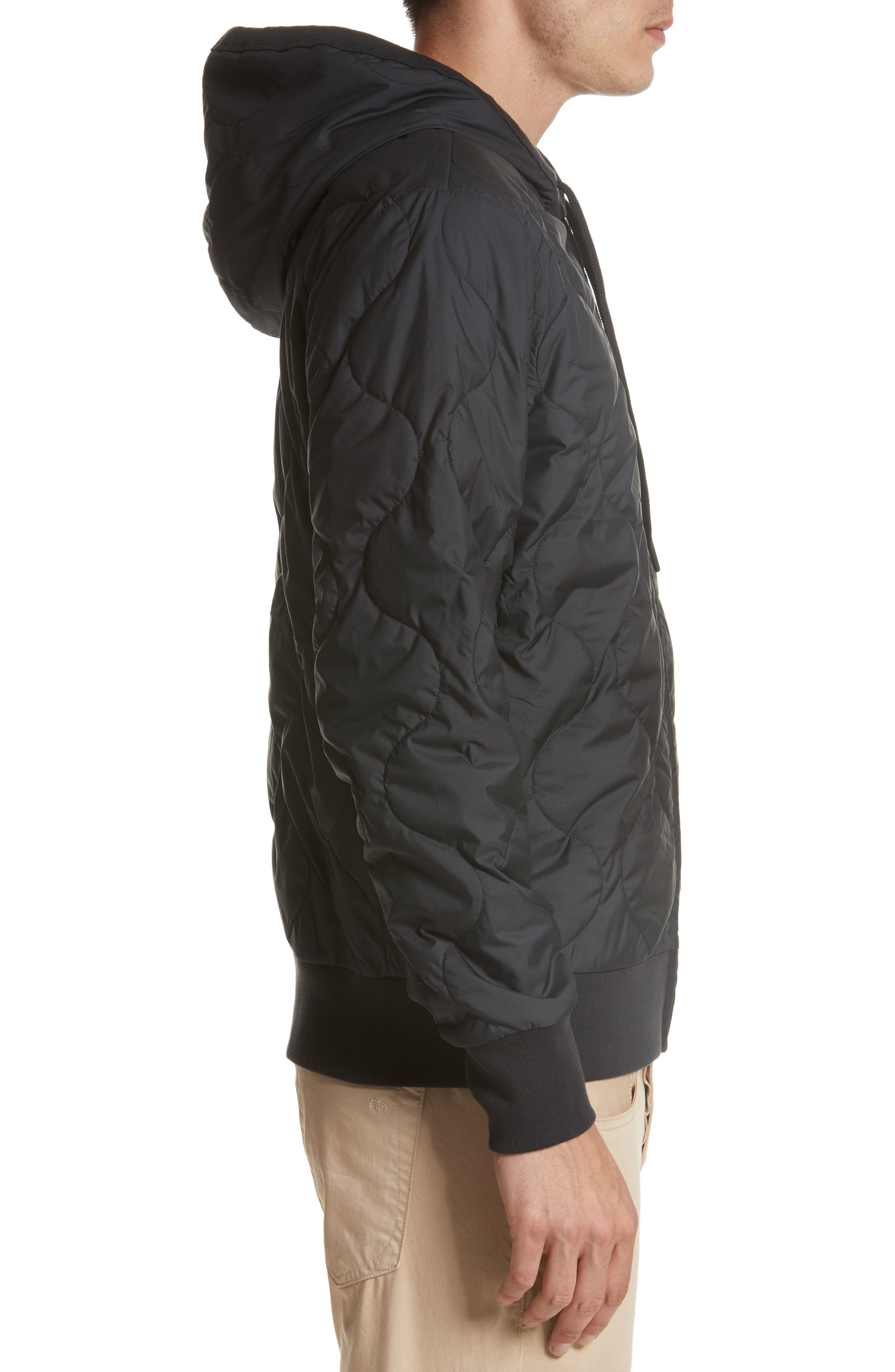 Quilted Zip Hoodie,                             Alternate thumbnail 3, color,                             001
