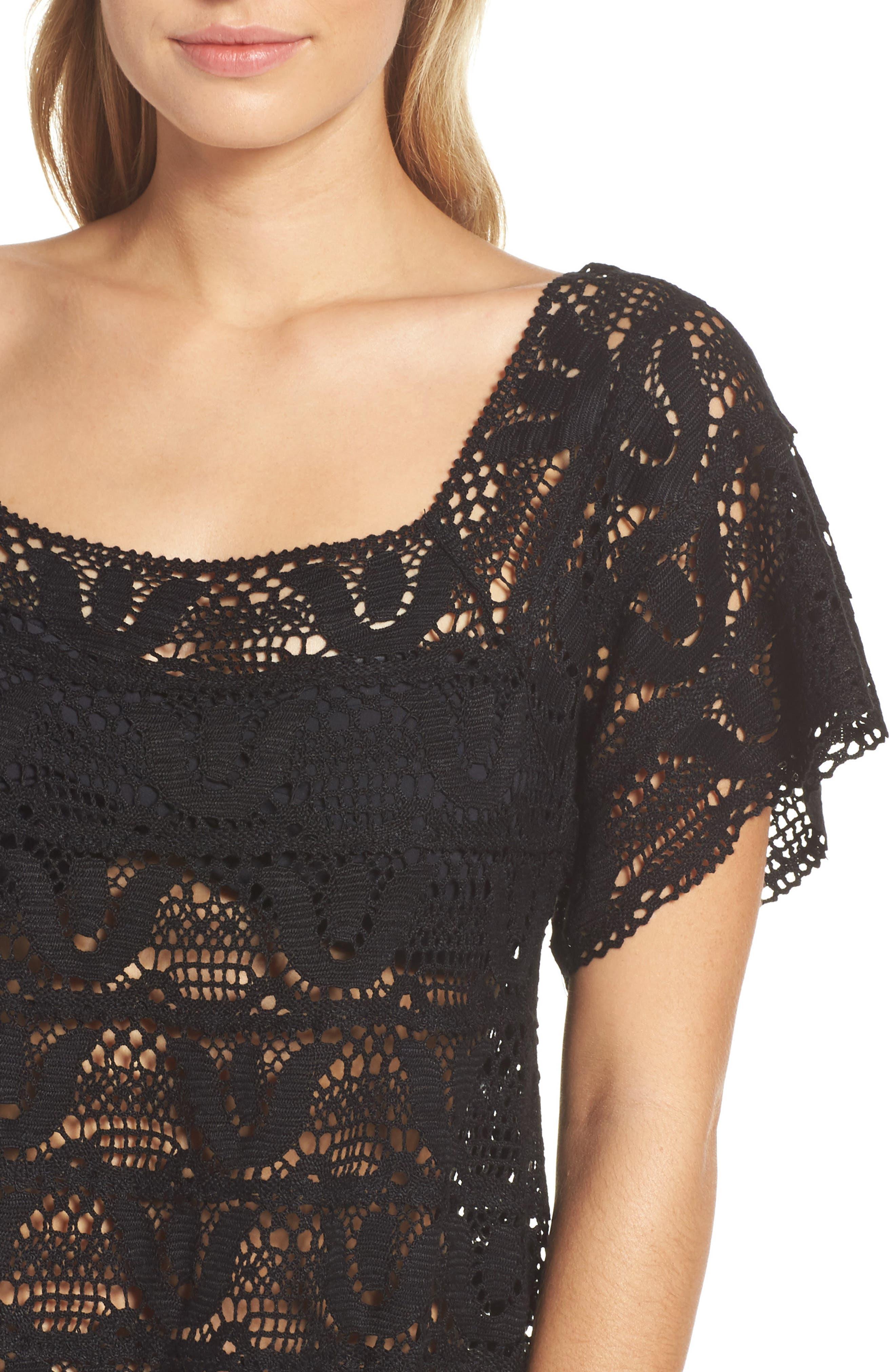 Nanette Lapore Crochet Cover-Up Dress,                             Alternate thumbnail 4, color,                             001