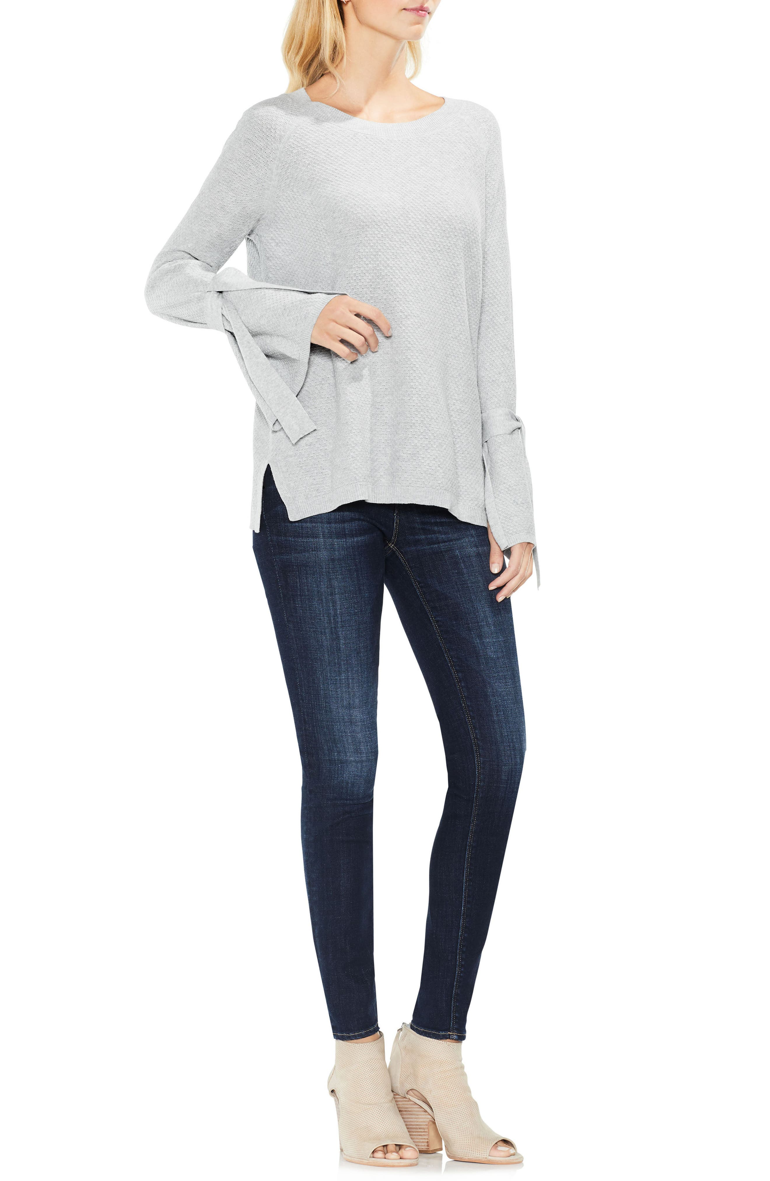 Texture Stitch Tie-Sleeve Top,                             Alternate thumbnail 4, color,                             050