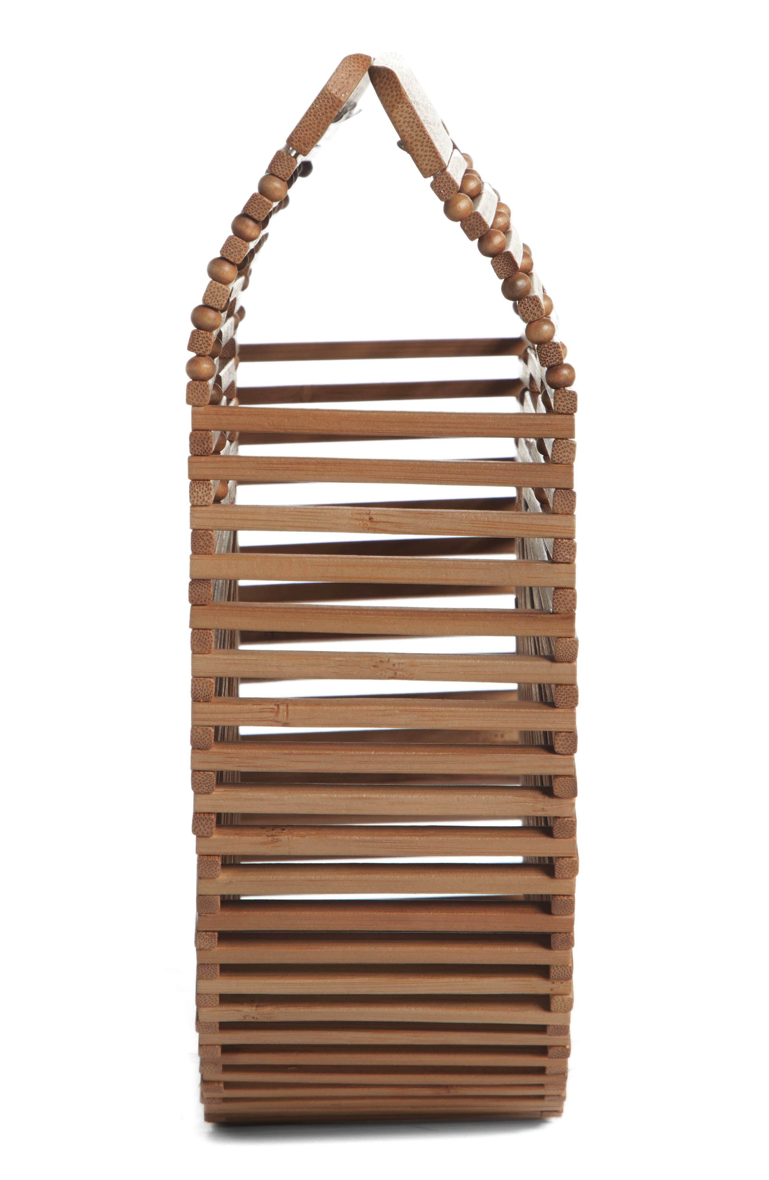Small Ark Bamboo Handbag,                             Alternate thumbnail 5, color,                             CHESTNUT