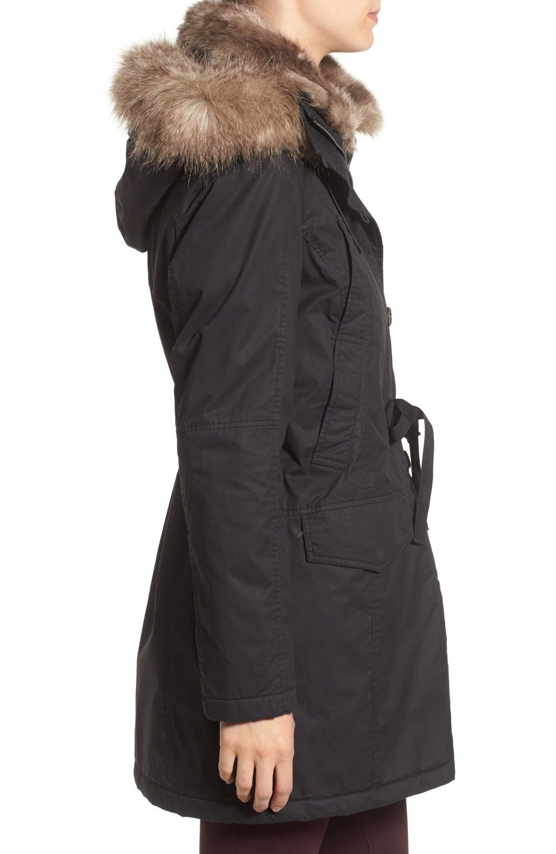 Hooded Parka With Faux Fur Trim,                             Alternate thumbnail 3, color,                             001