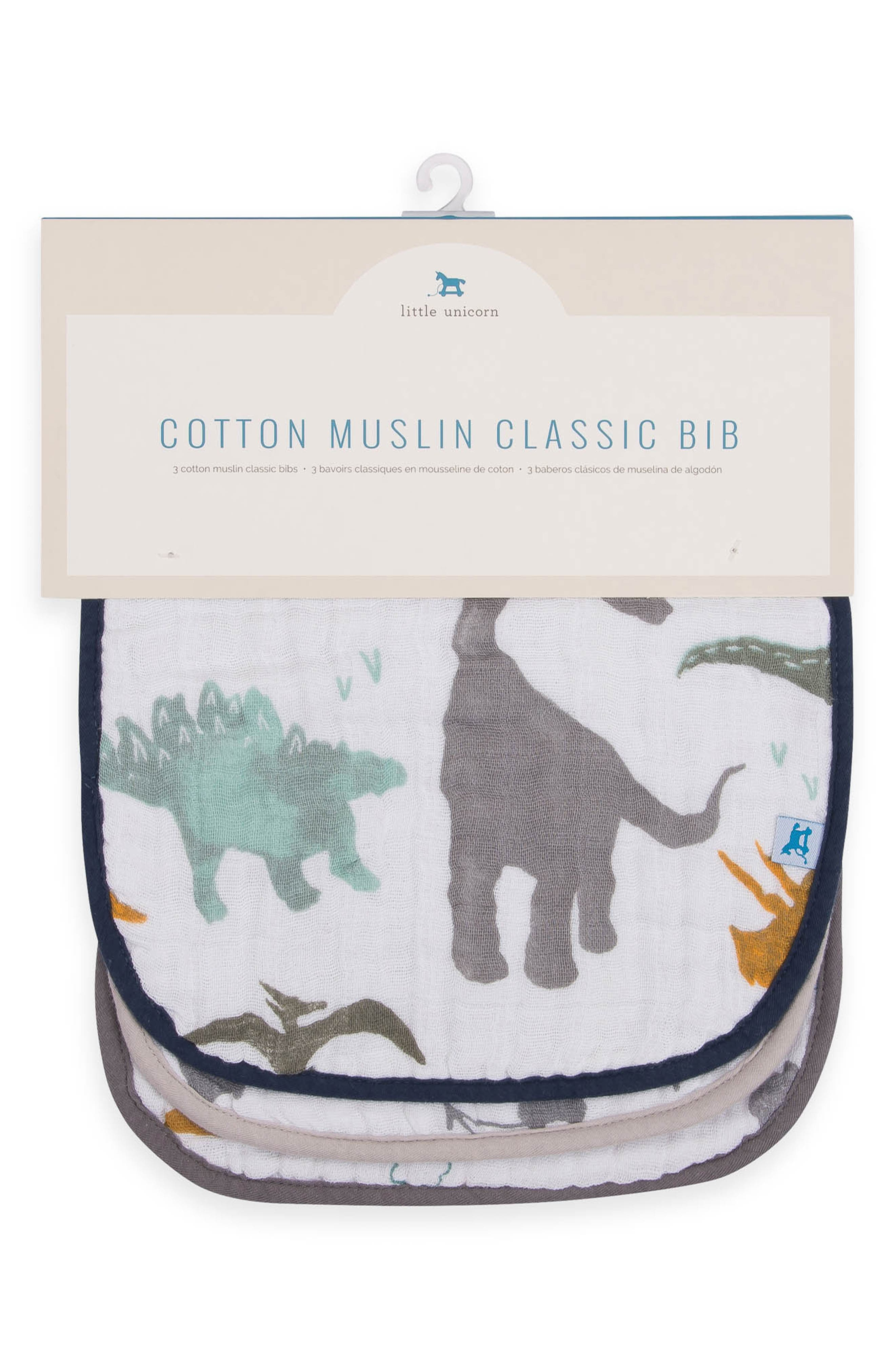 LITTLE UNICORN,                             3-Pack Classic Cotton Muslin Bibs,                             Alternate thumbnail 2, color,                             DINO FRIENDS