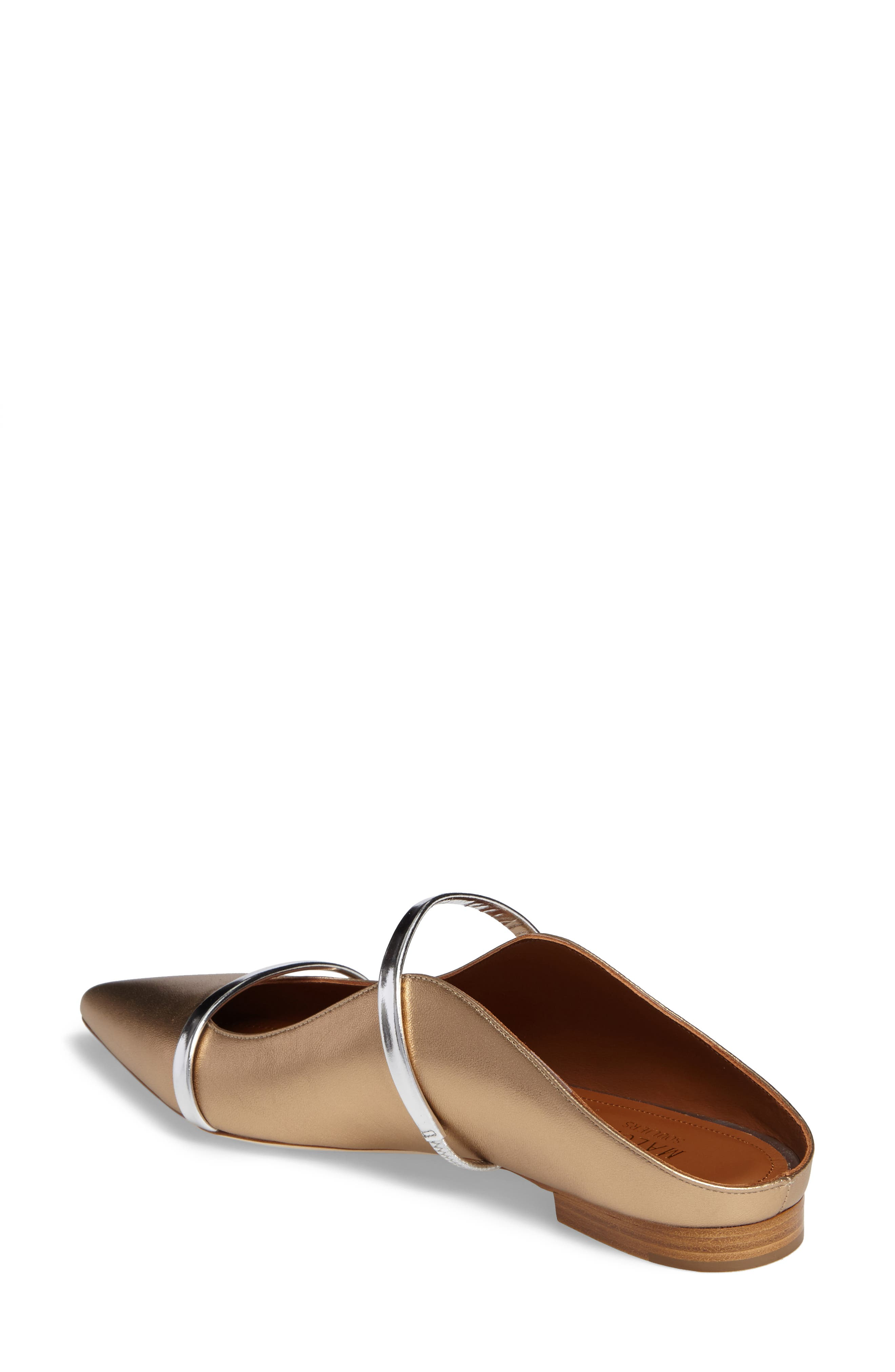 Maureen Pointy Toe Flat,                             Alternate thumbnail 2, color,                             GOLD/ SILVER