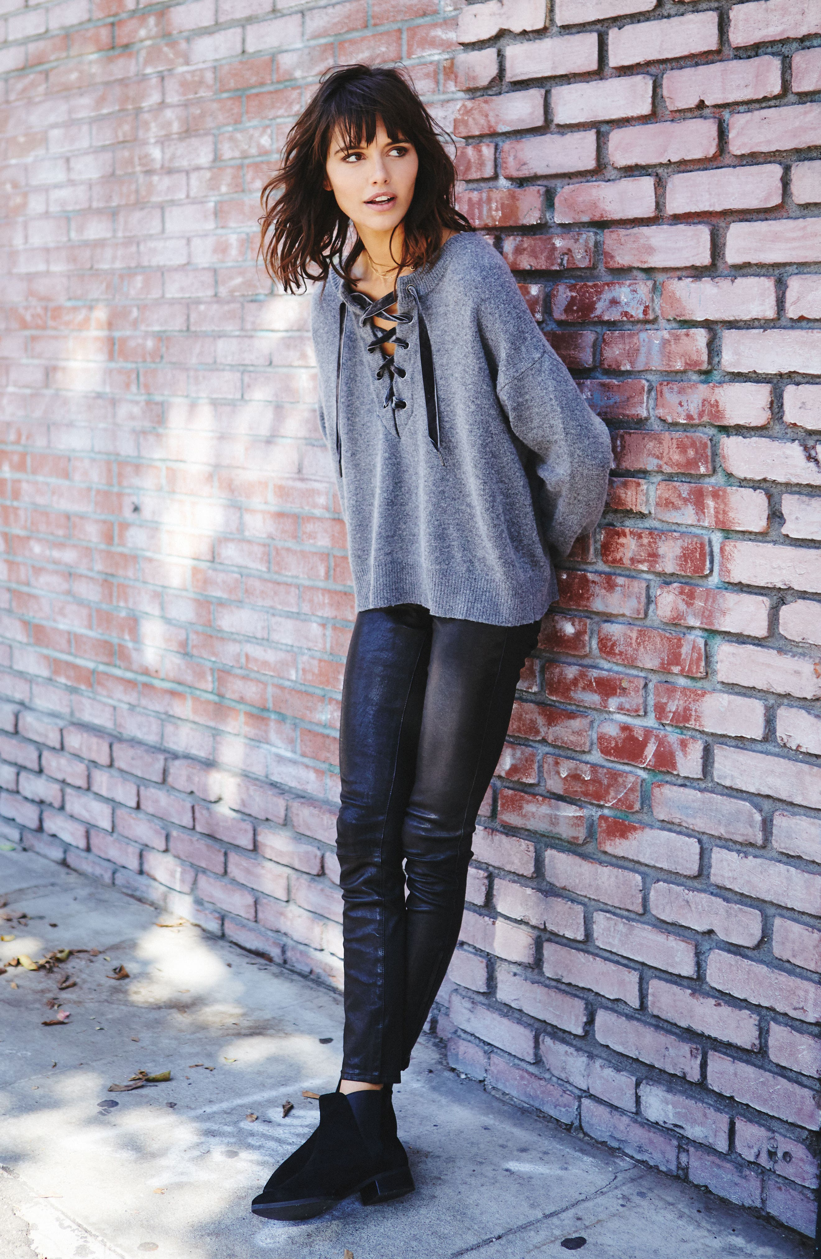 Olivia Lace-Up Sweater,                             Alternate thumbnail 8, color,                             ASH