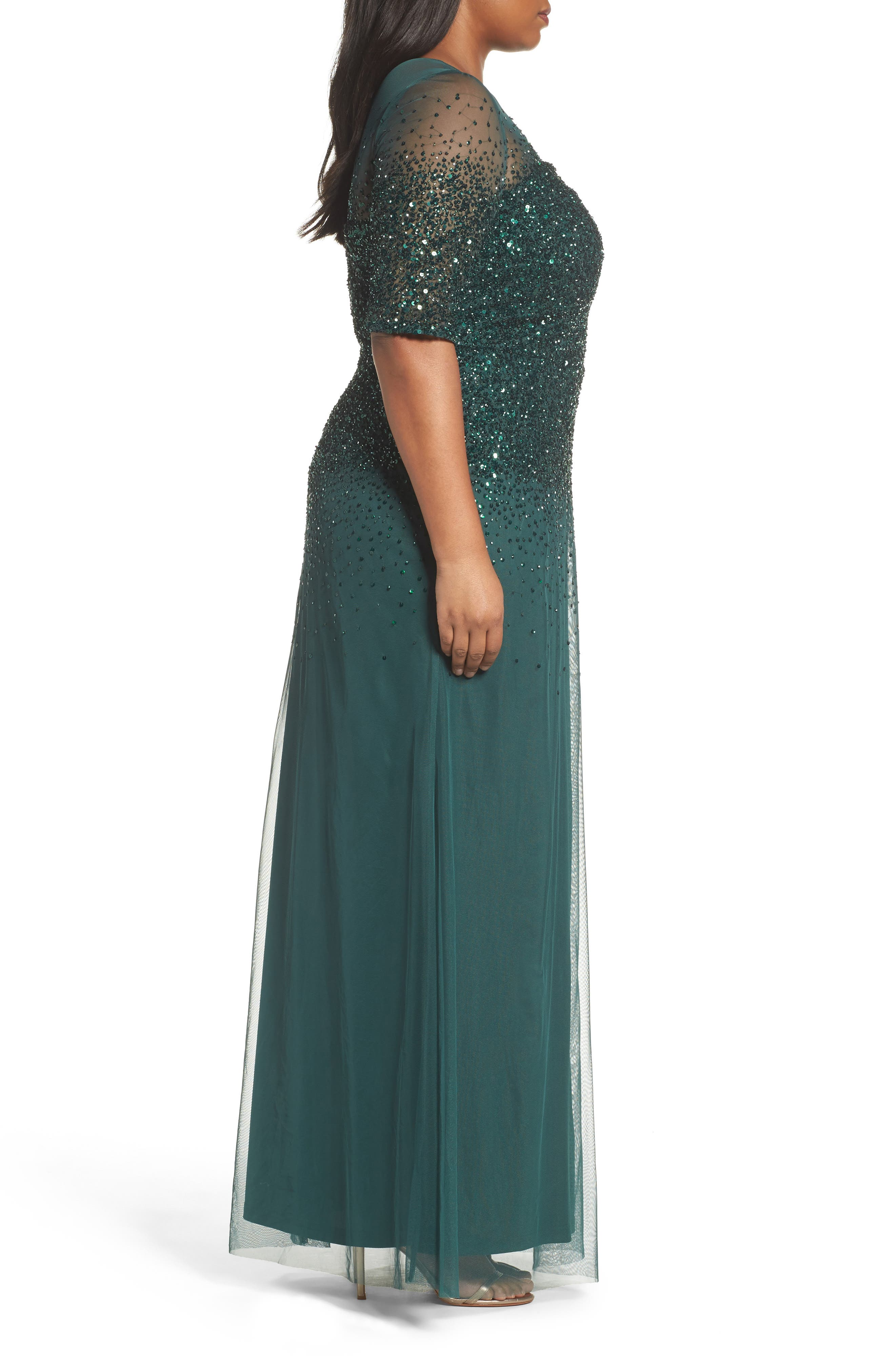 Beaded Illusion Gown,                             Alternate thumbnail 3, color,                             302