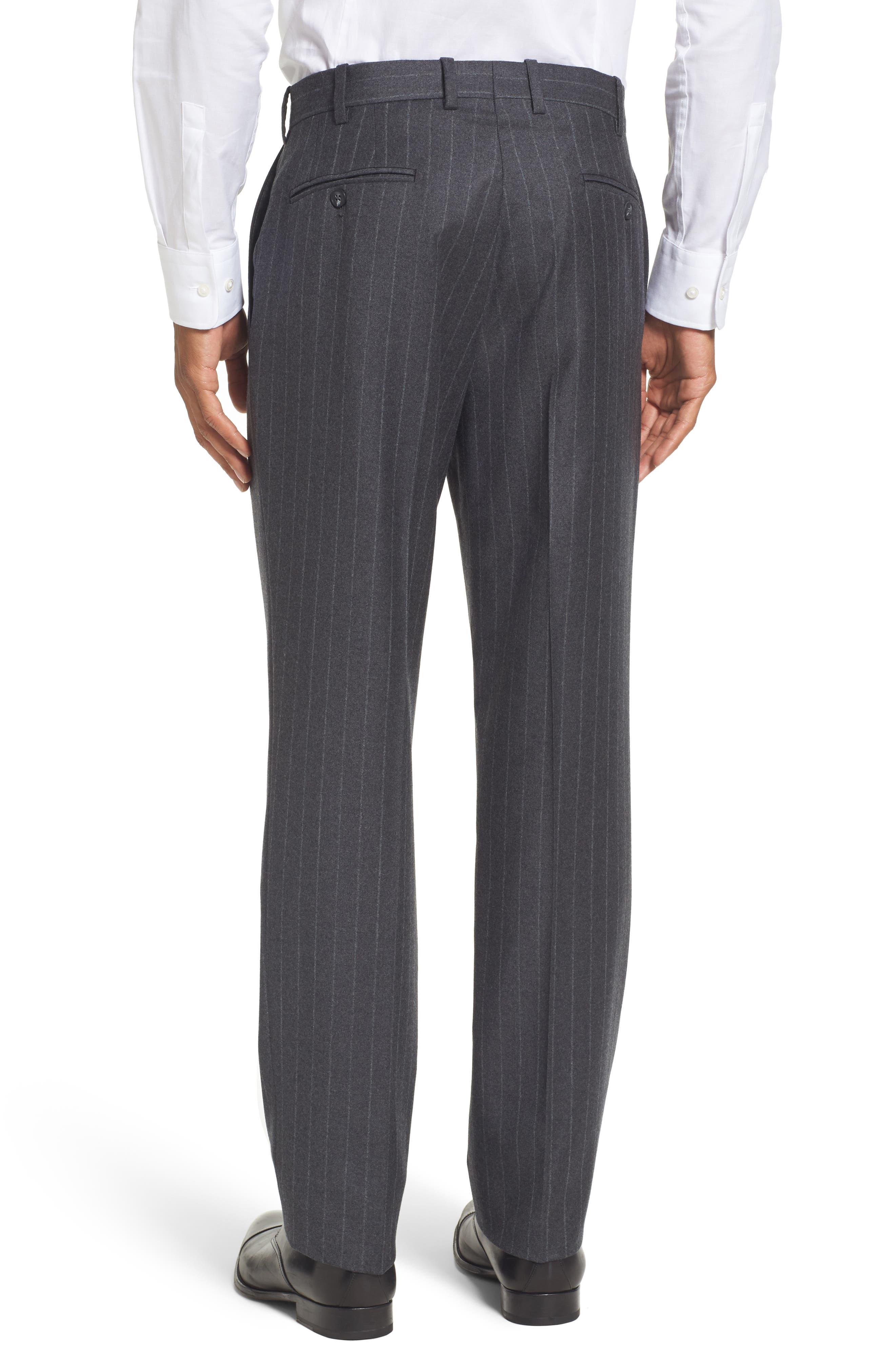 Flat Front Chalk Stripe Wool Trousers,                             Alternate thumbnail 4, color,                             030