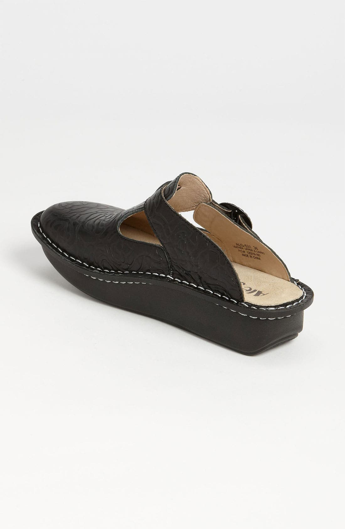 'Classic' Clog,                             Alternate thumbnail 4, color,                             BLACK EMBOSSED ROSE LEATHER