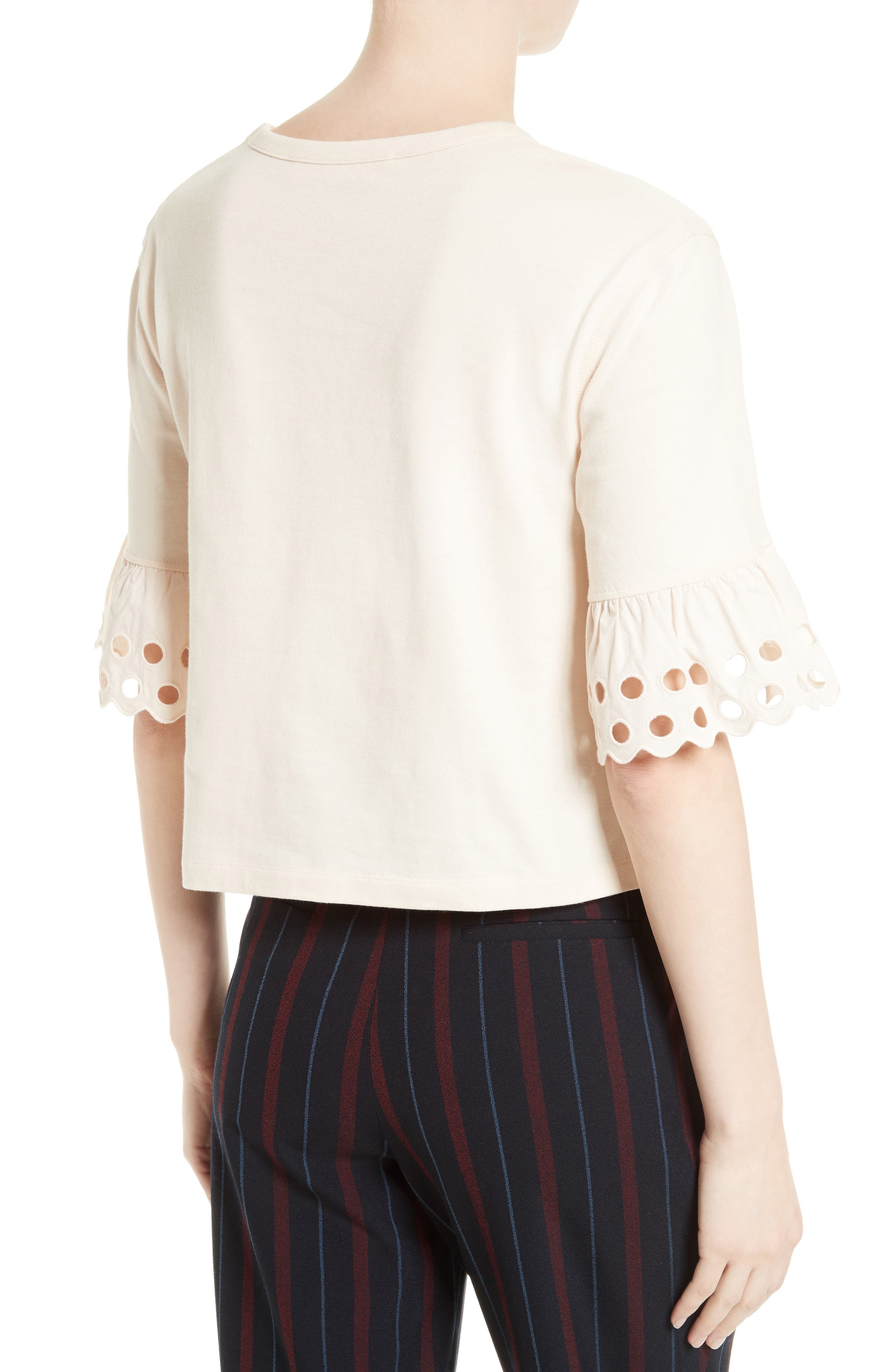 Ruffle Sleeve Boxy Tee,                             Alternate thumbnail 2, color,                             650